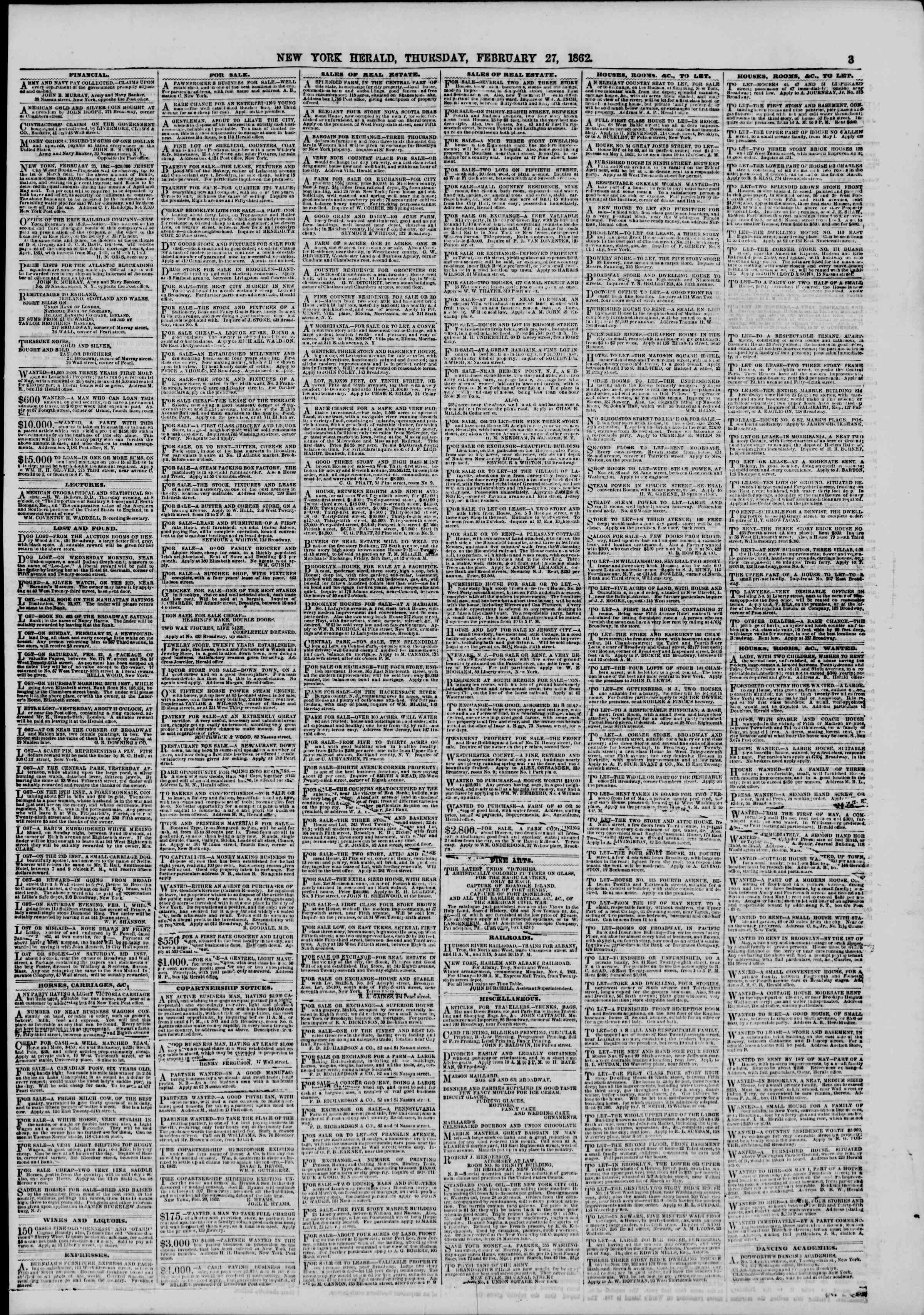 Newspaper of The New York Herald dated February 27, 1862 Page 3