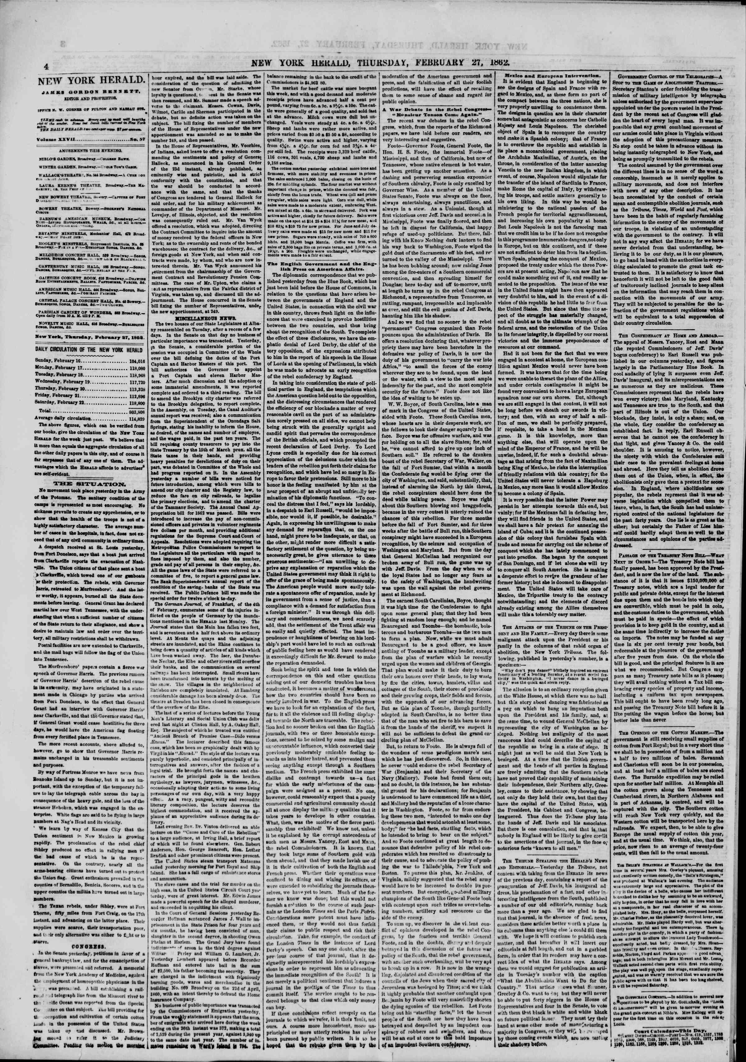 Newspaper of The New York Herald dated February 27, 1862 Page 4