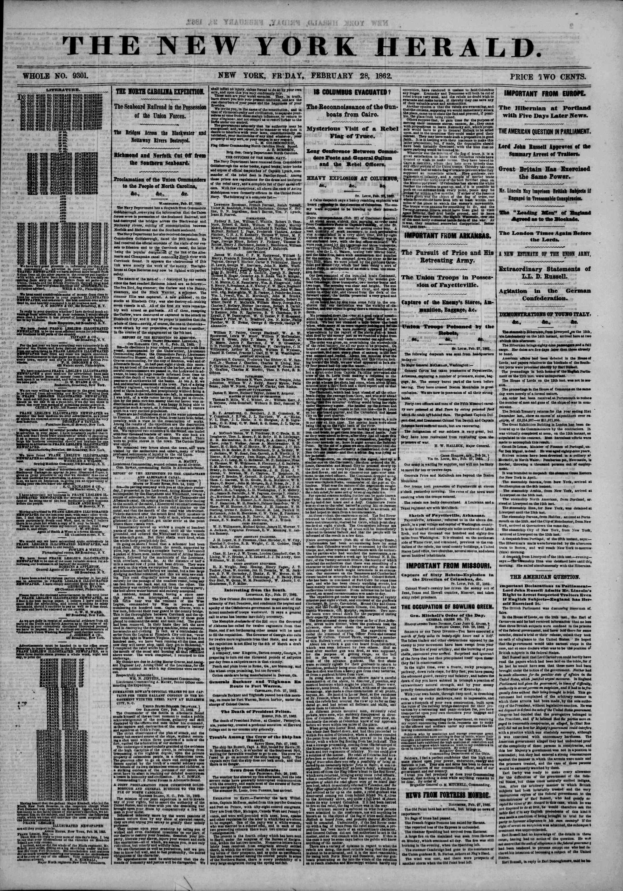 Newspaper of The New York Herald dated February 28, 1862 Page 1