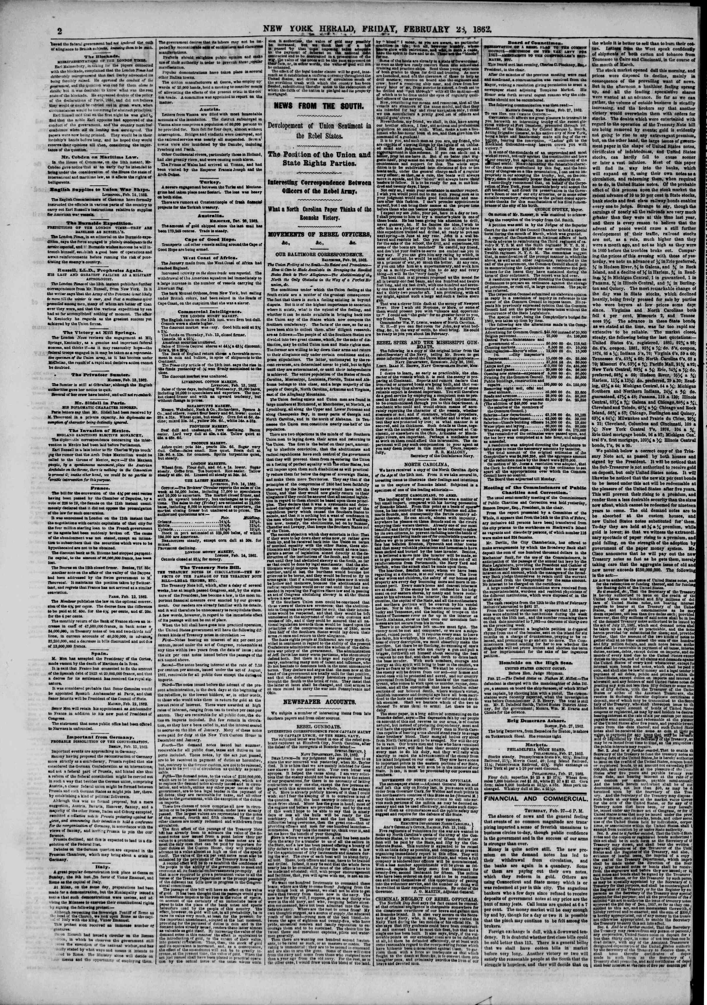 Newspaper of The New York Herald dated February 28, 1862 Page 2