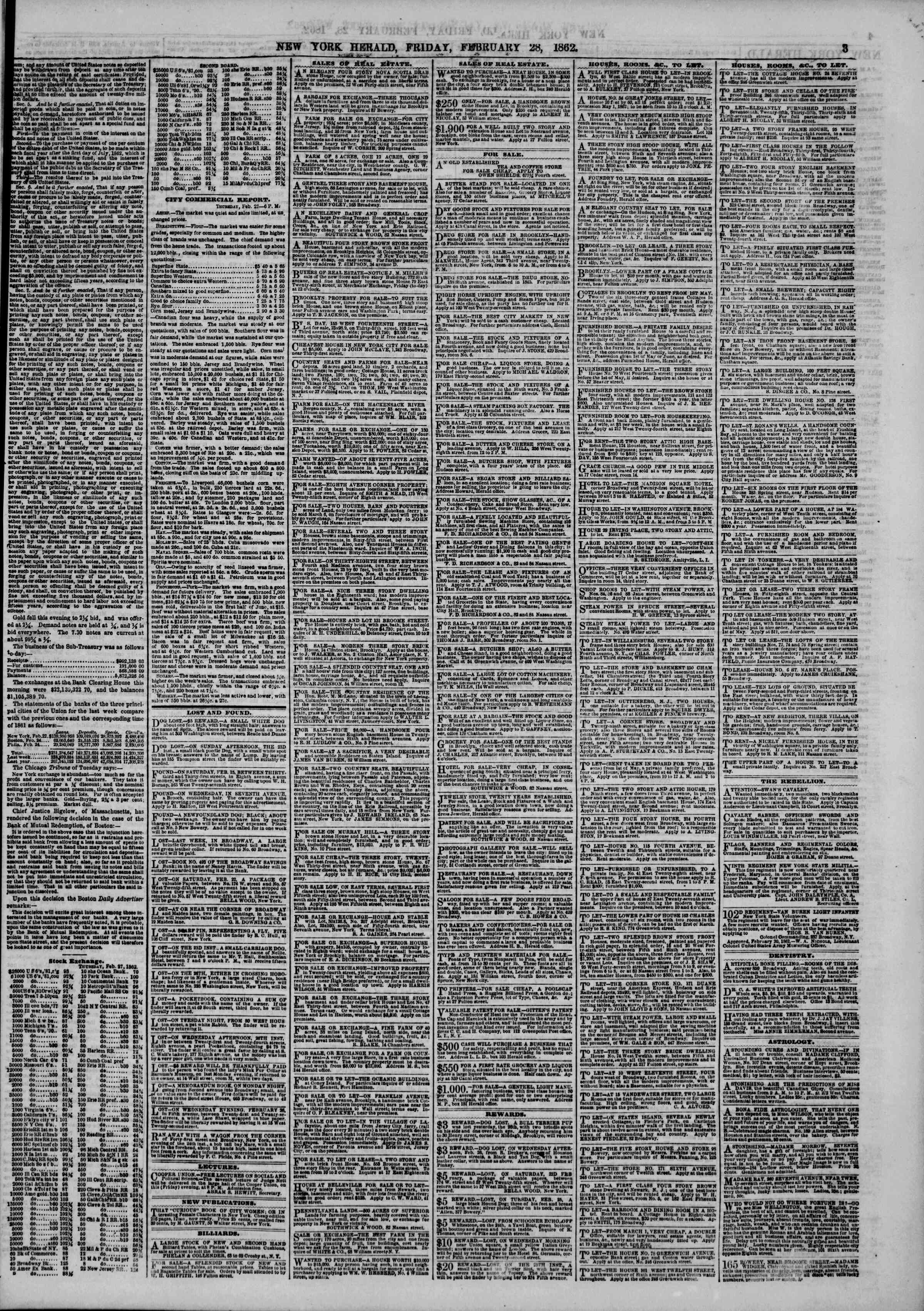 Newspaper of The New York Herald dated February 28, 1862 Page 3