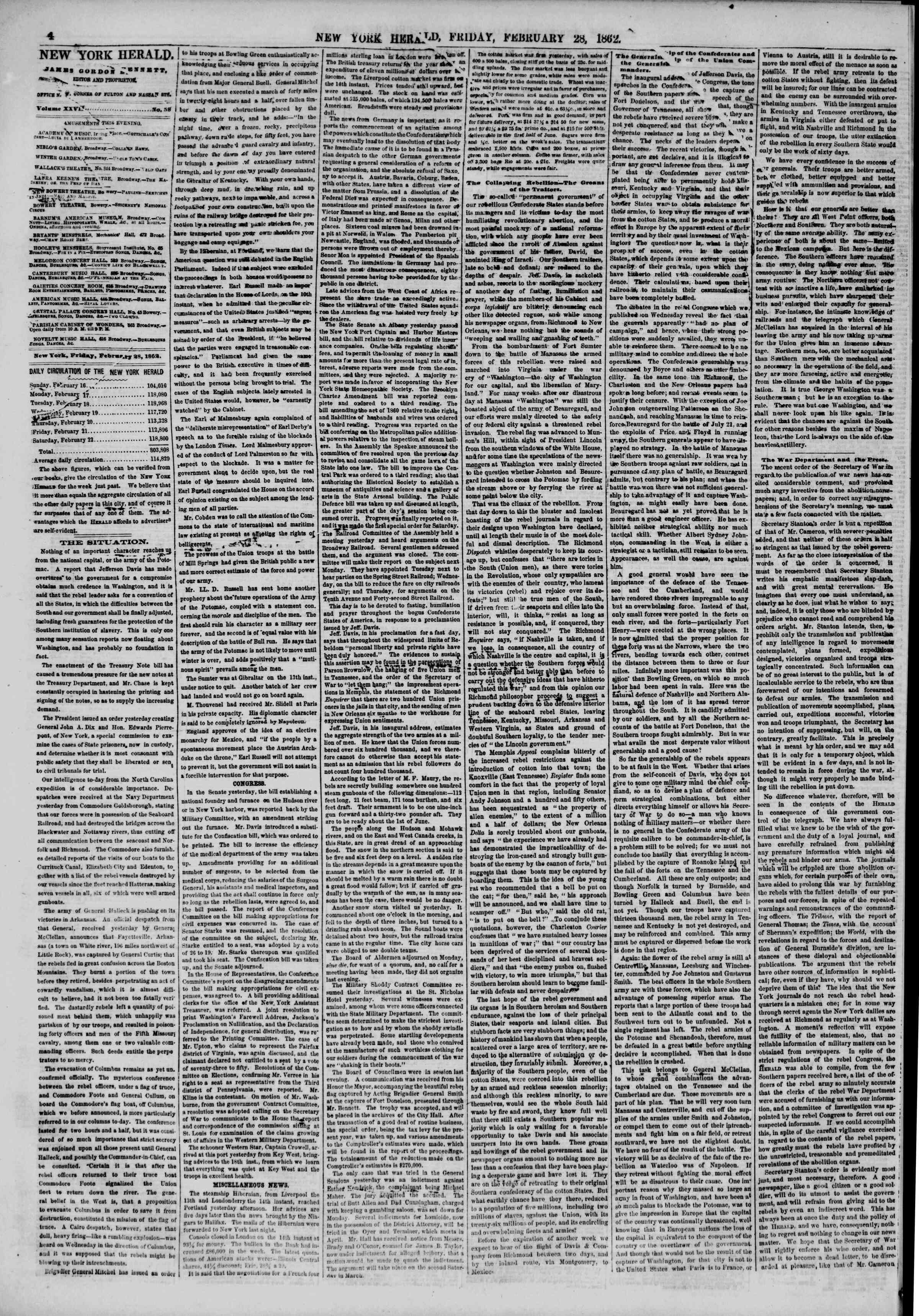 Newspaper of The New York Herald dated February 28, 1862 Page 4