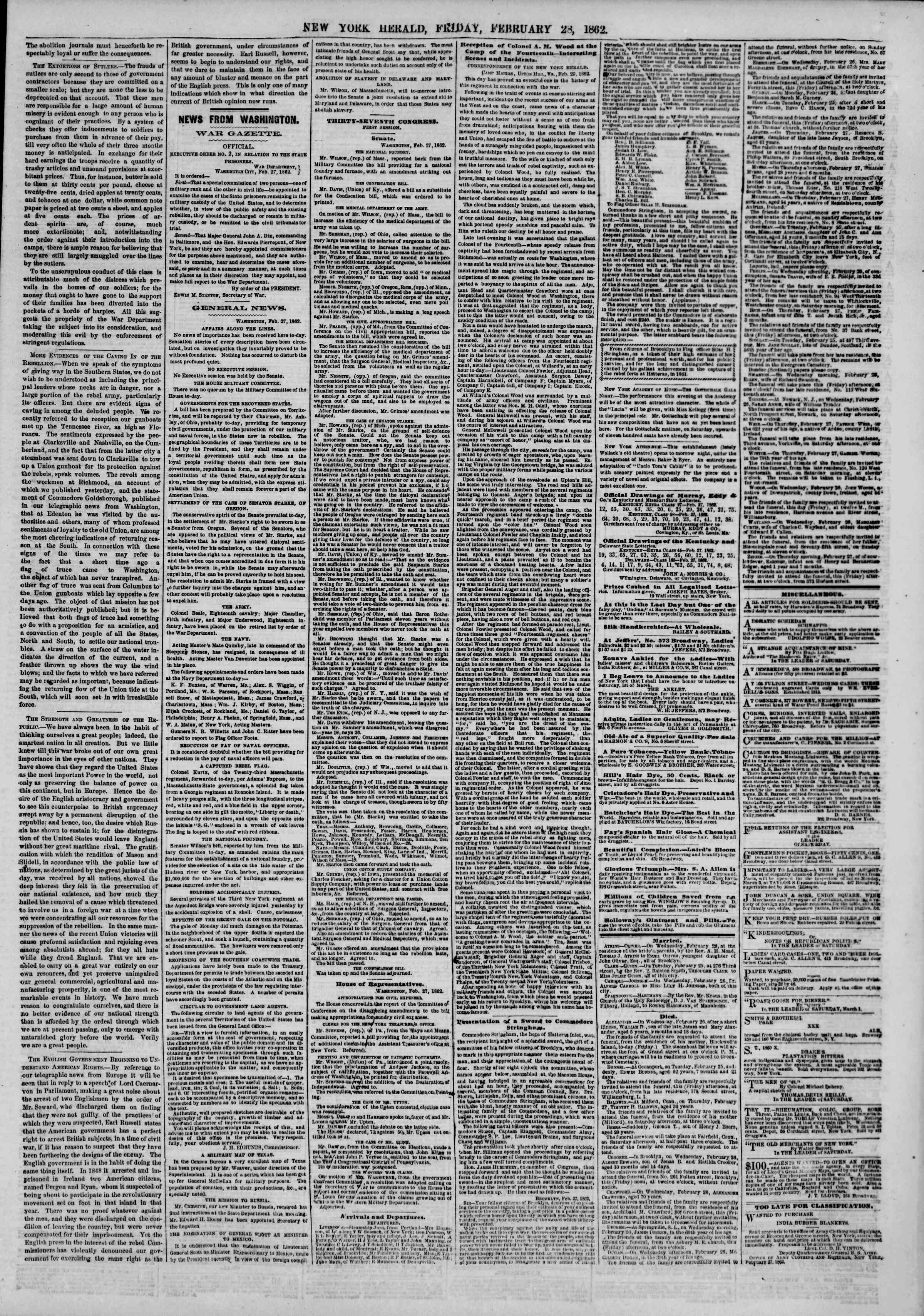 Newspaper of The New York Herald dated February 28, 1862 Page 5