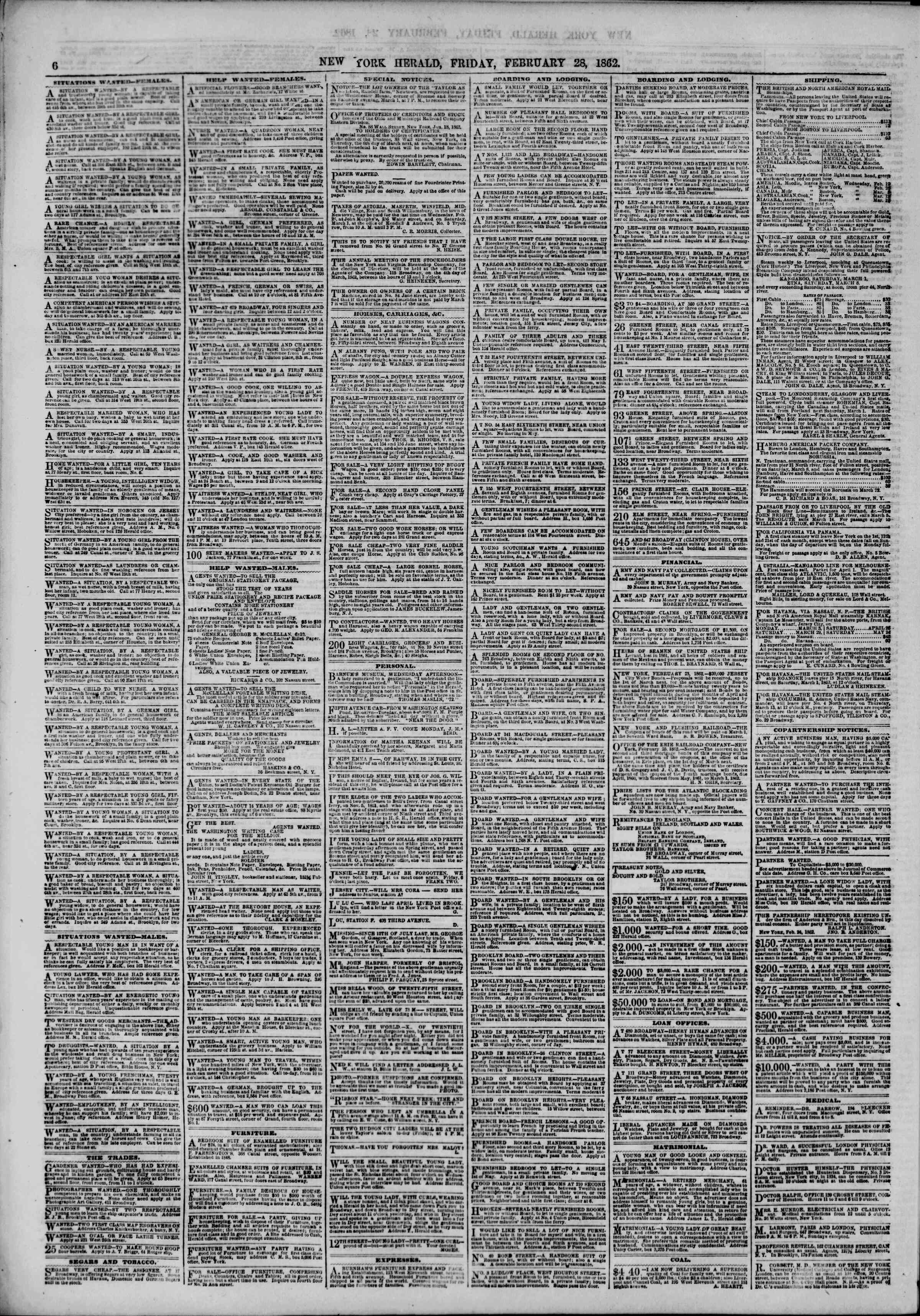 Newspaper of The New York Herald dated February 28, 1862 Page 6