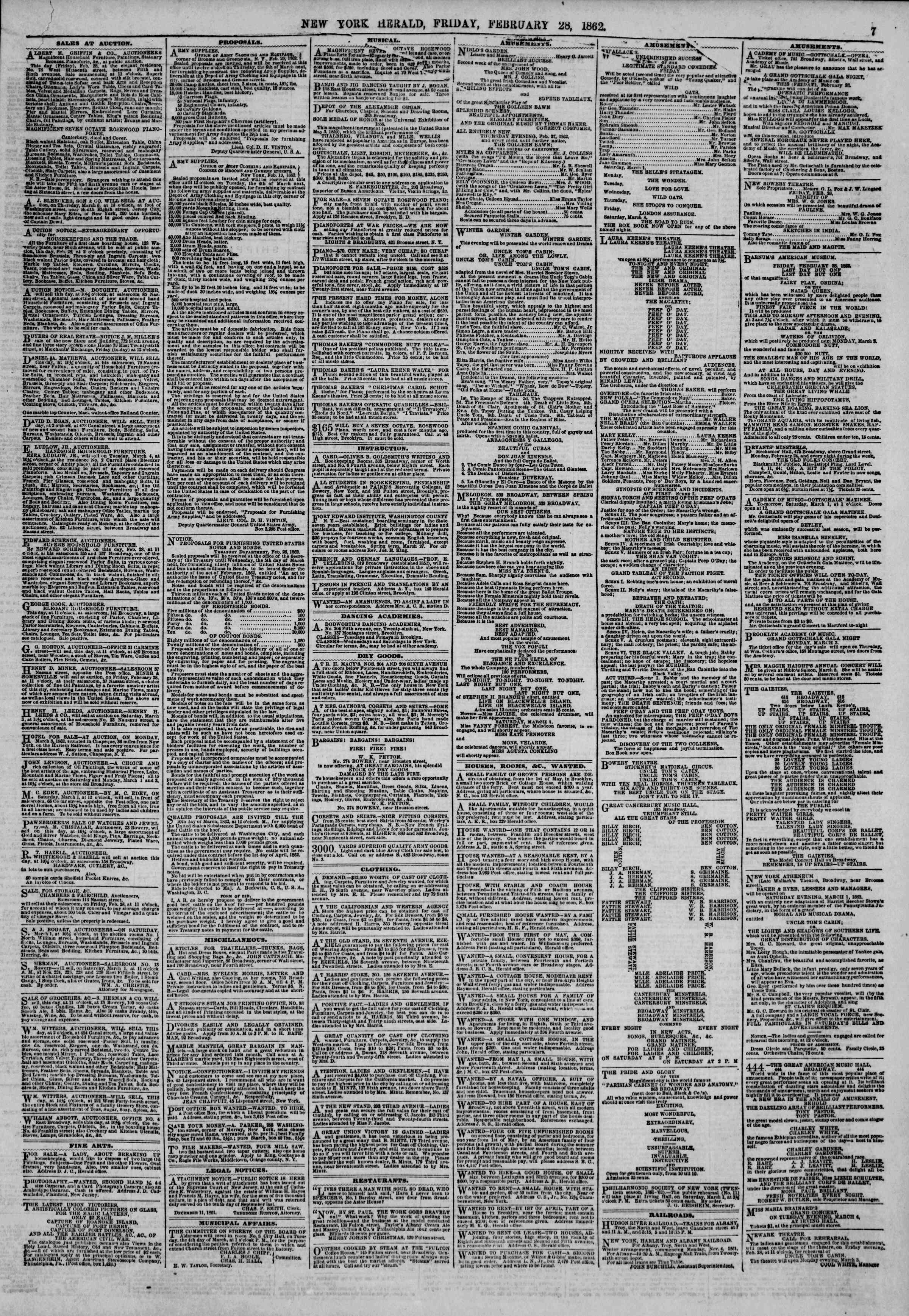 Newspaper of The New York Herald dated February 28, 1862 Page 7