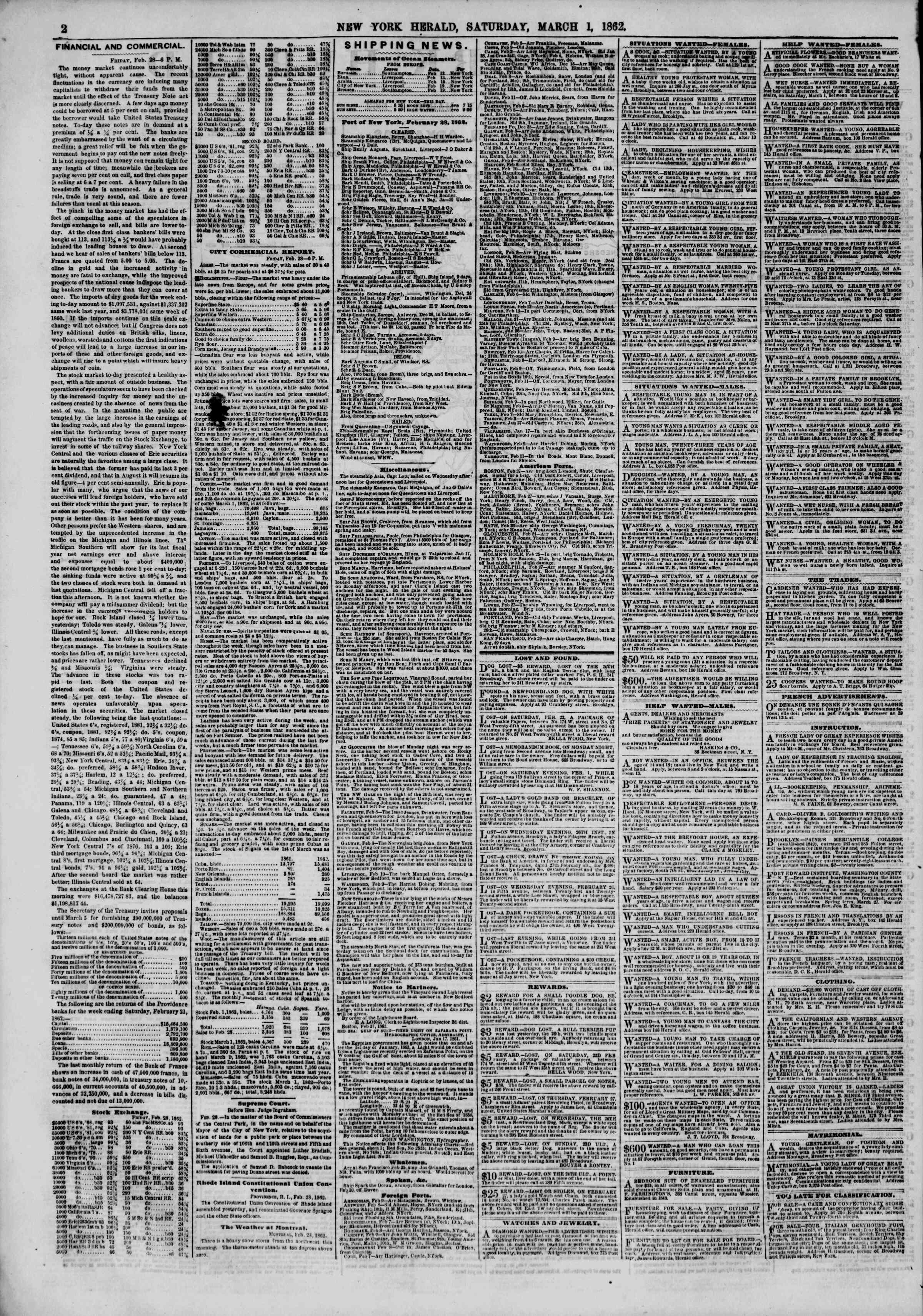 Newspaper of The New York Herald dated March 1, 1862 Page 2