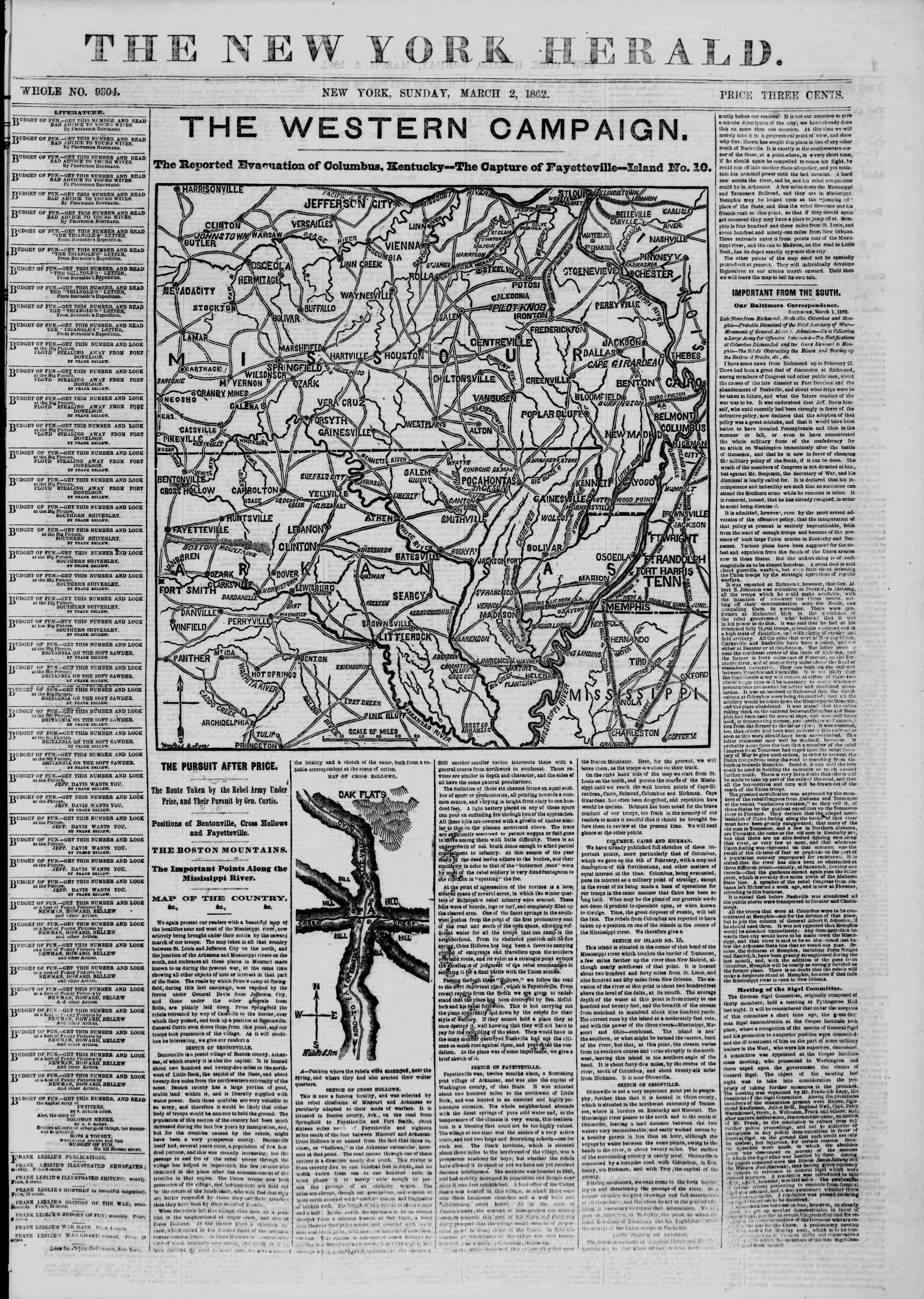 Newspaper of The New York Herald dated March 2, 1862 Page 1