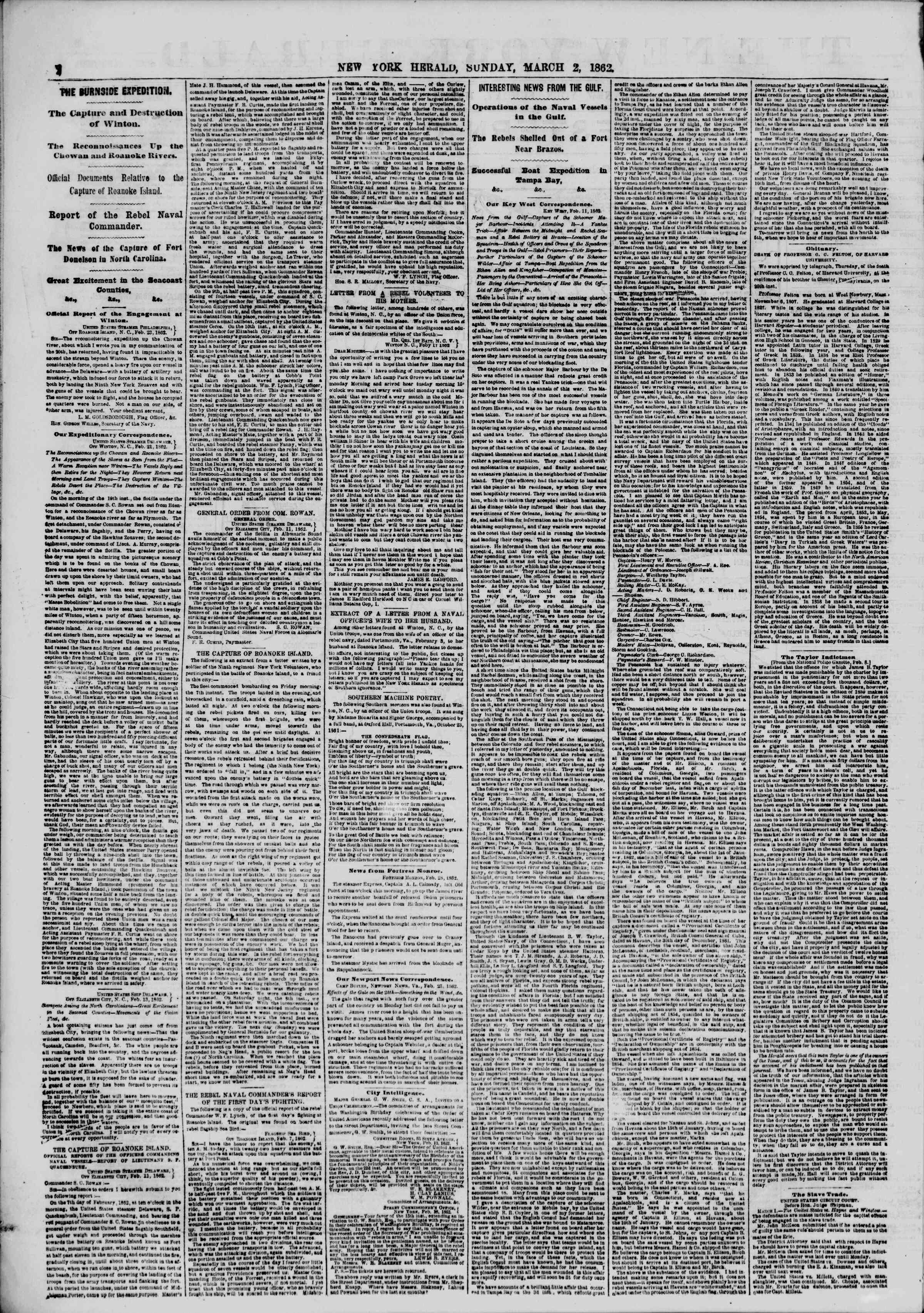 Newspaper of The New York Herald dated March 2, 1862 Page 2