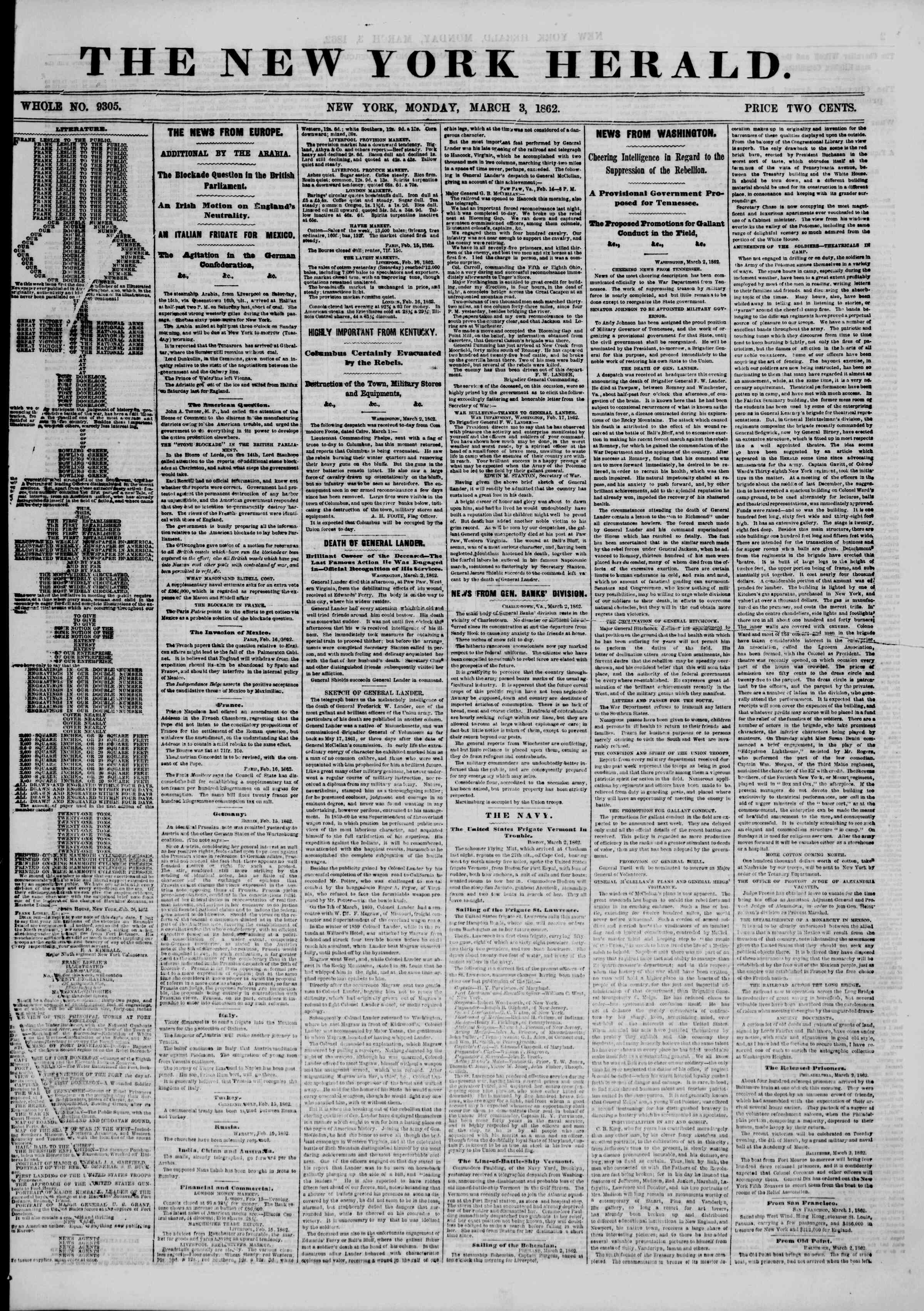 Newspaper of The New York Herald dated March 3, 1862 Page 1