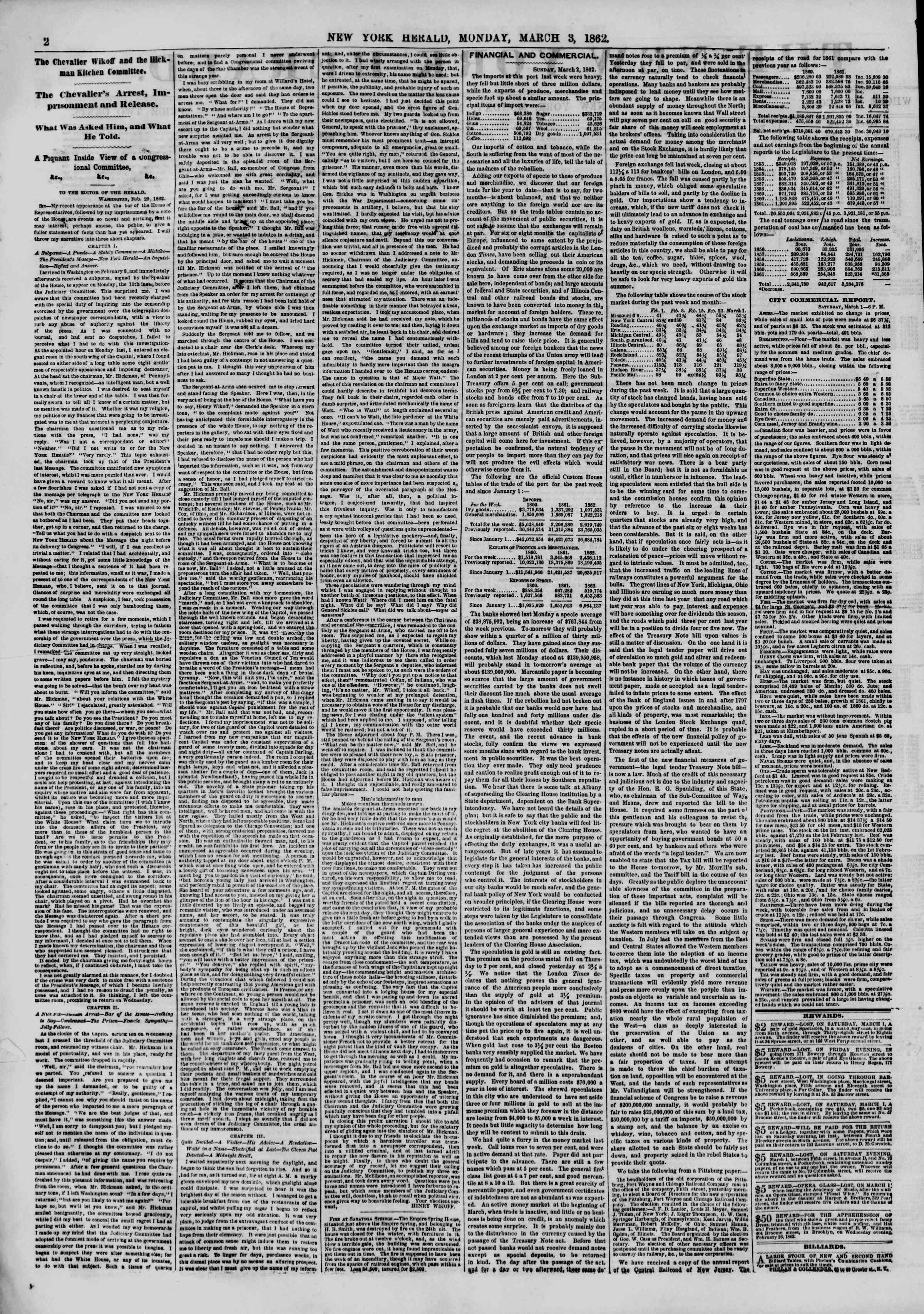 Newspaper of The New York Herald dated March 3, 1862 Page 2