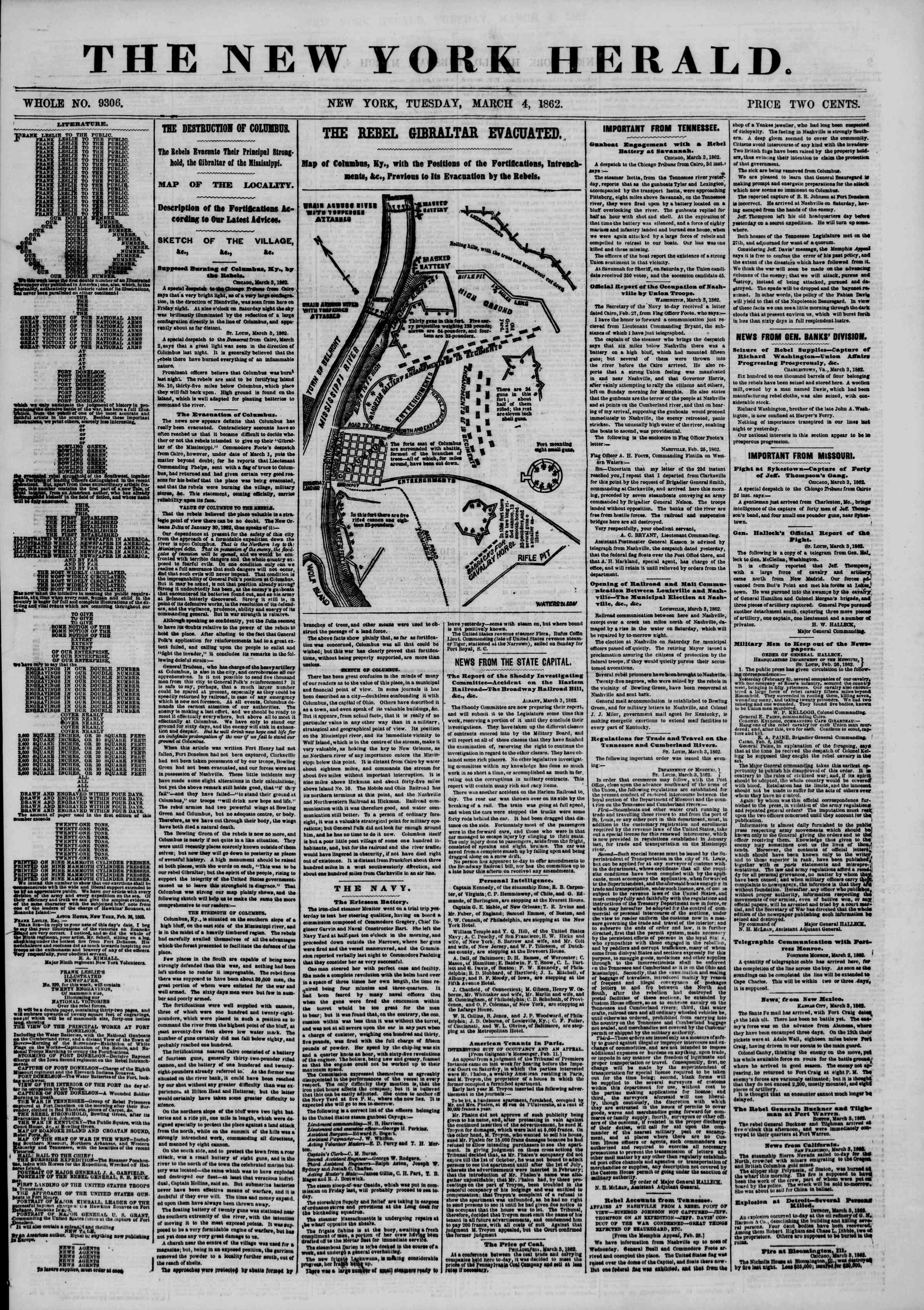 Newspaper of The New York Herald dated March 4, 1862 Page 1