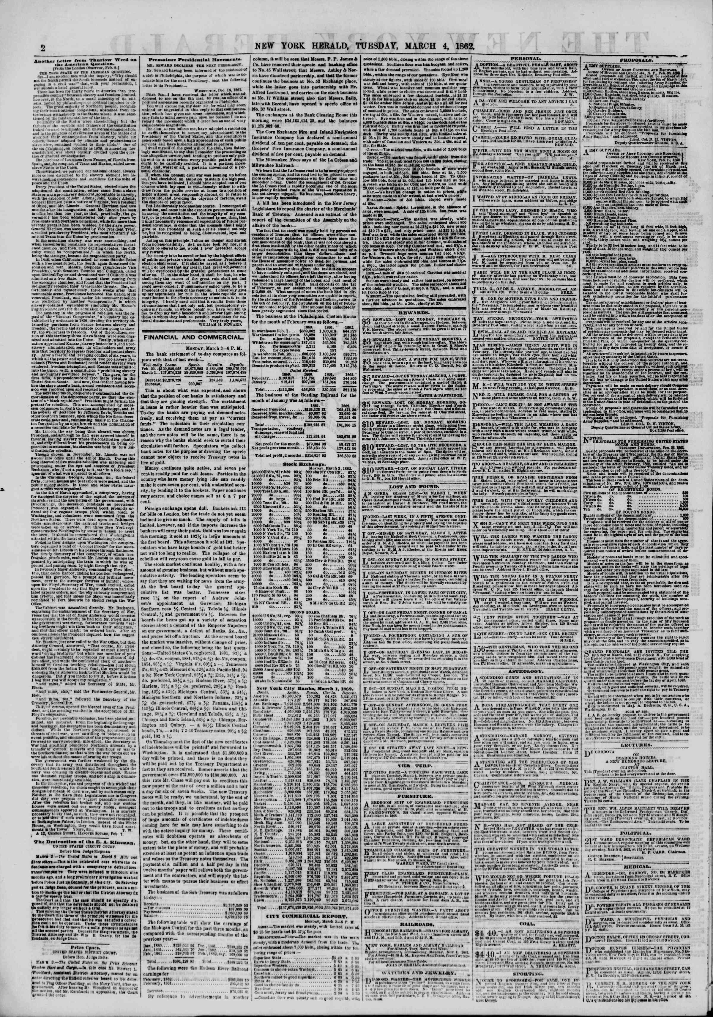 Newspaper of The New York Herald dated March 4, 1862 Page 2
