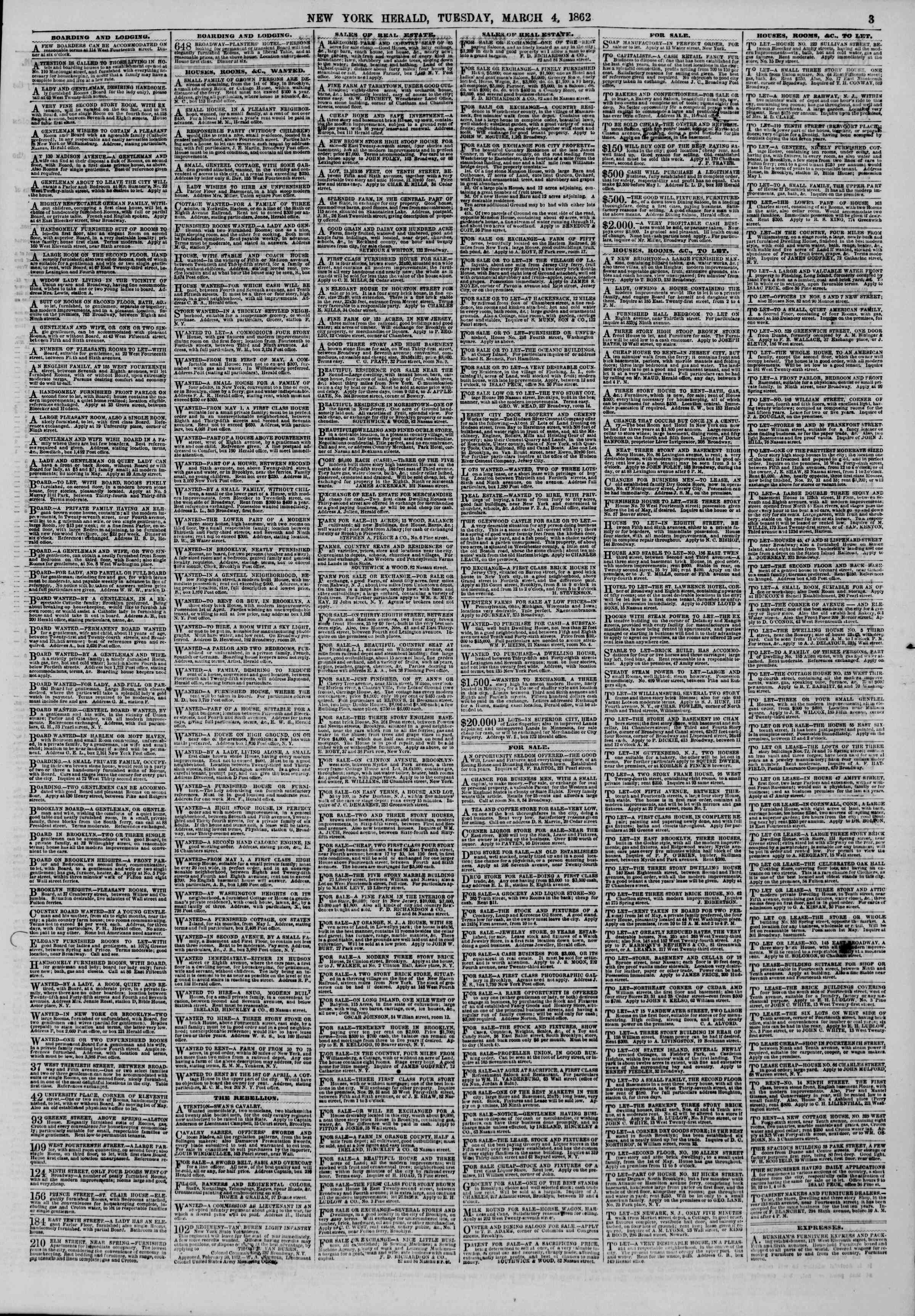 Newspaper of The New York Herald dated March 4, 1862 Page 3