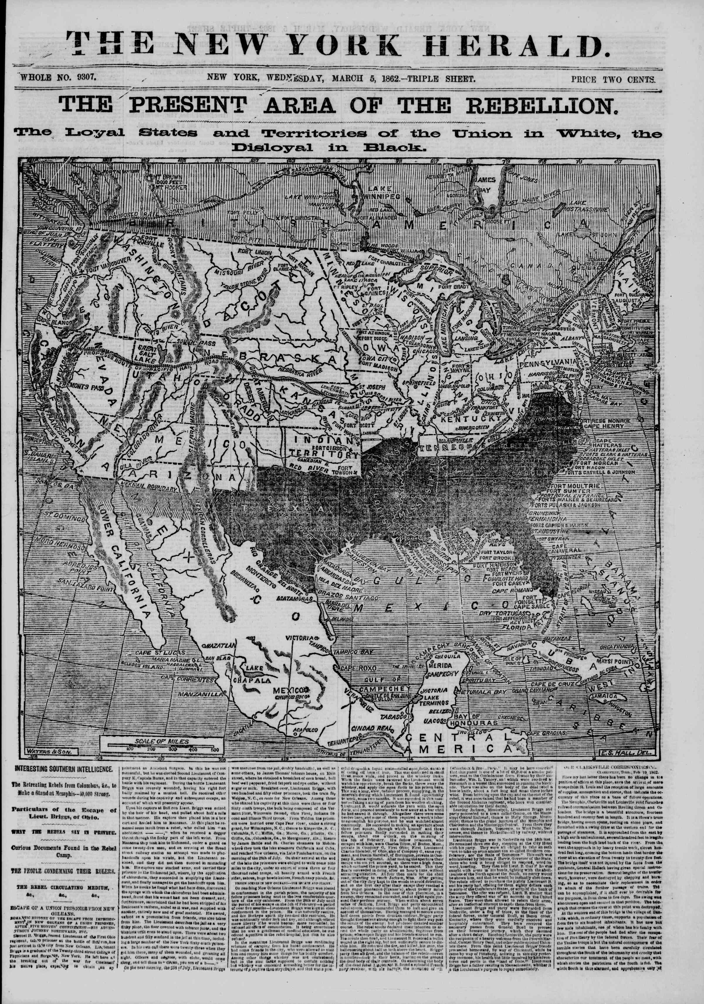 Newspaper of The New York Herald dated March 5, 1862 Page 1