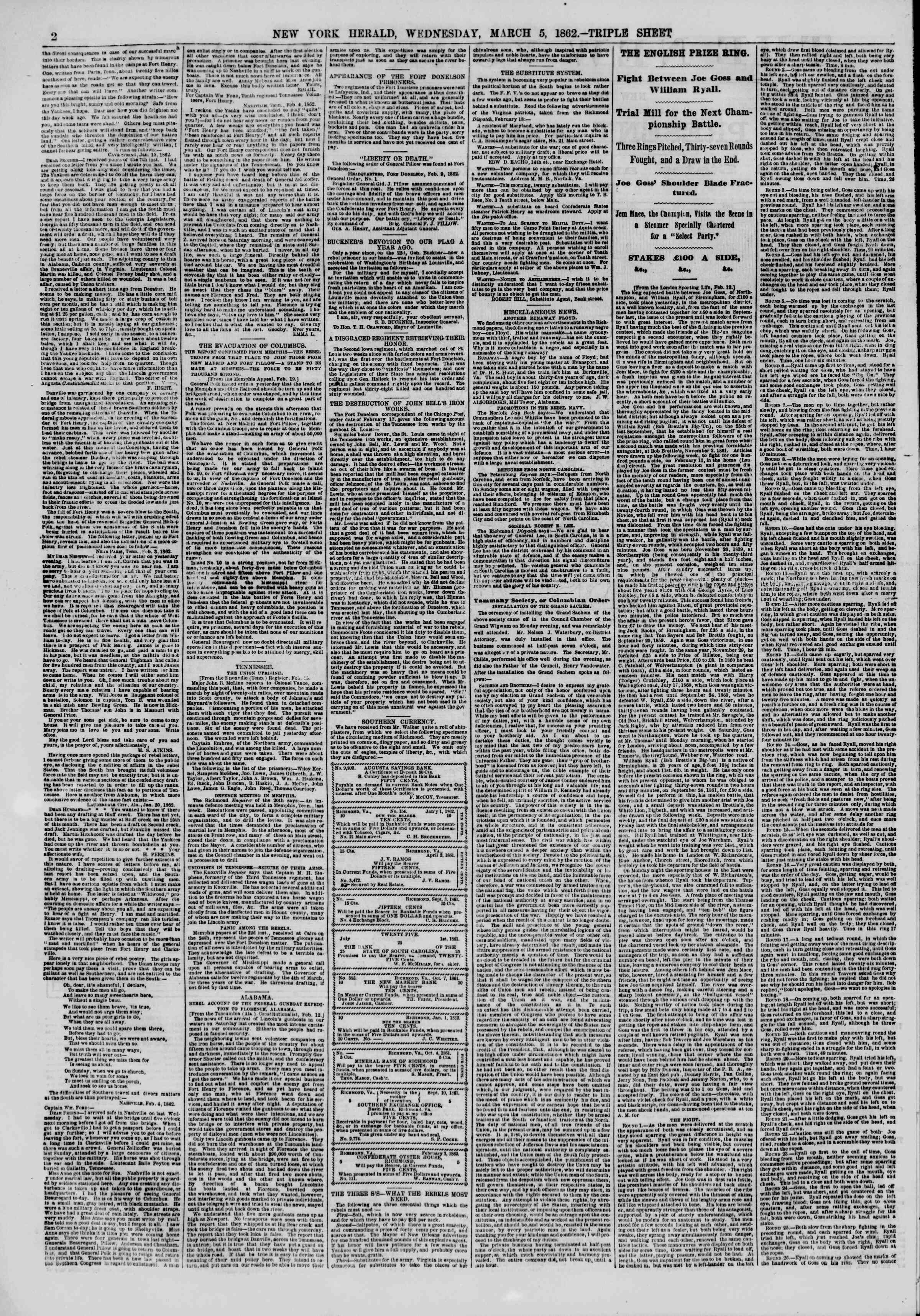 Newspaper of The New York Herald dated March 5, 1862 Page 2