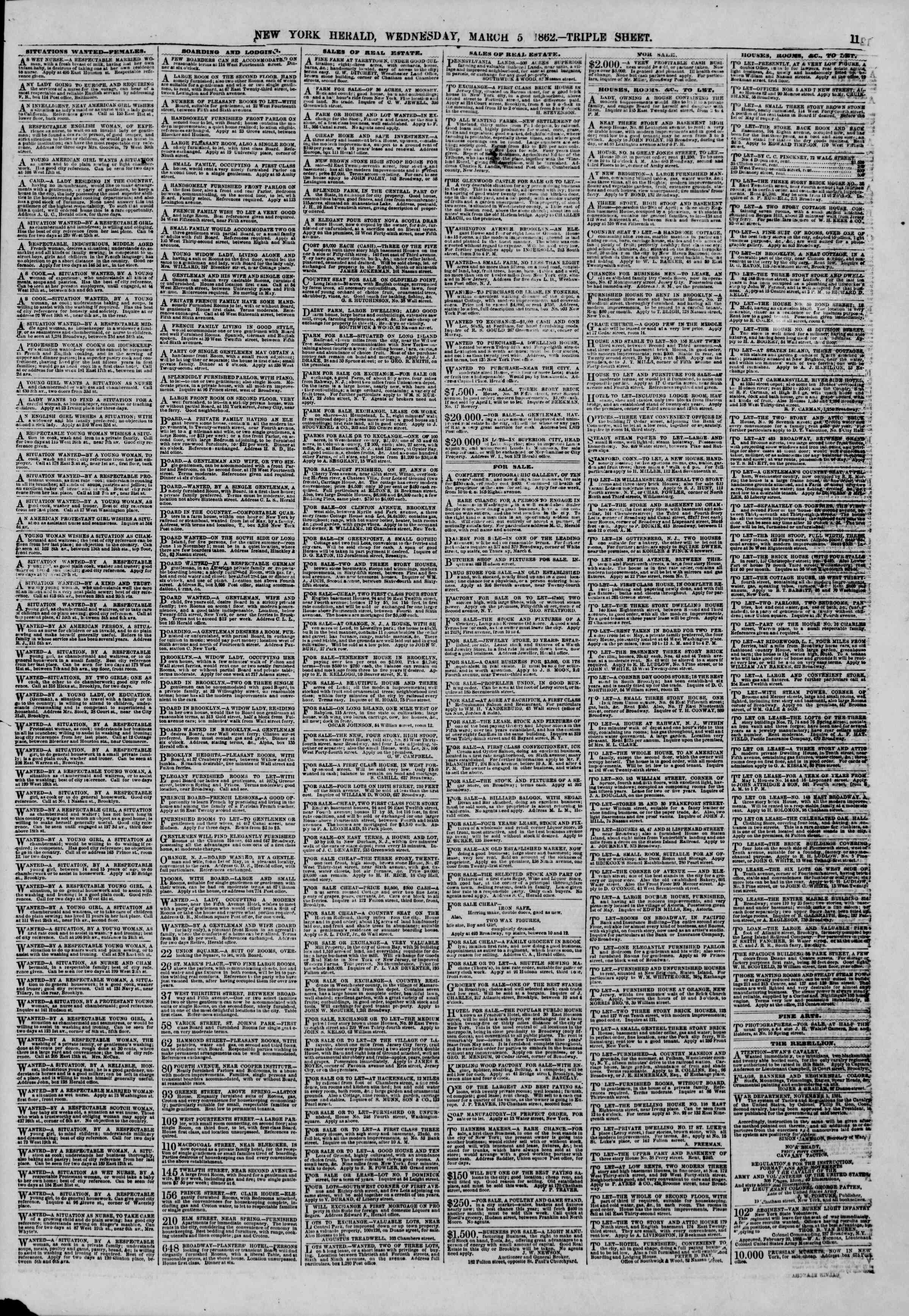 Newspaper of The New York Herald dated March 5, 1862 Page 11