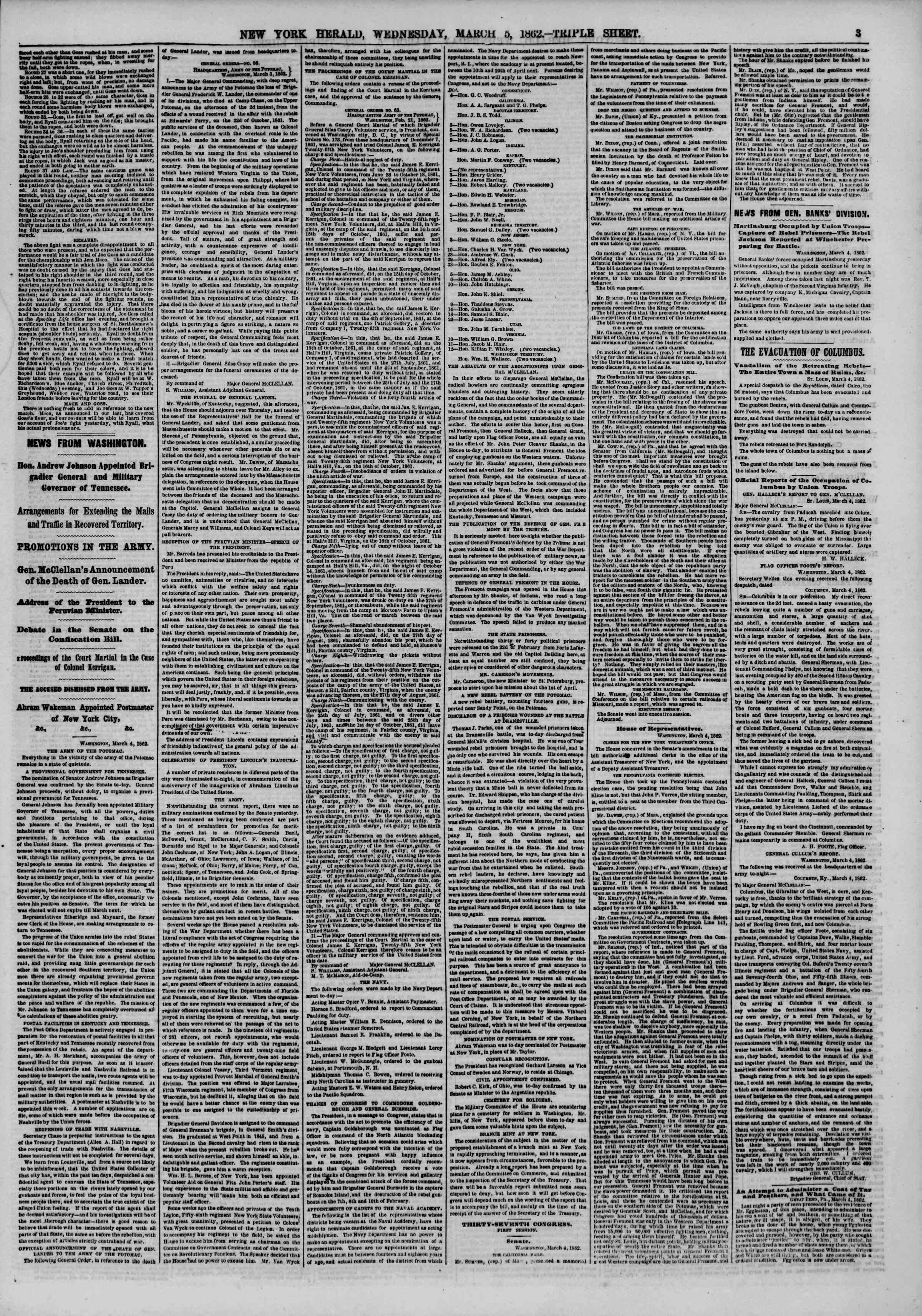 Newspaper of The New York Herald dated March 5, 1862 Page 3