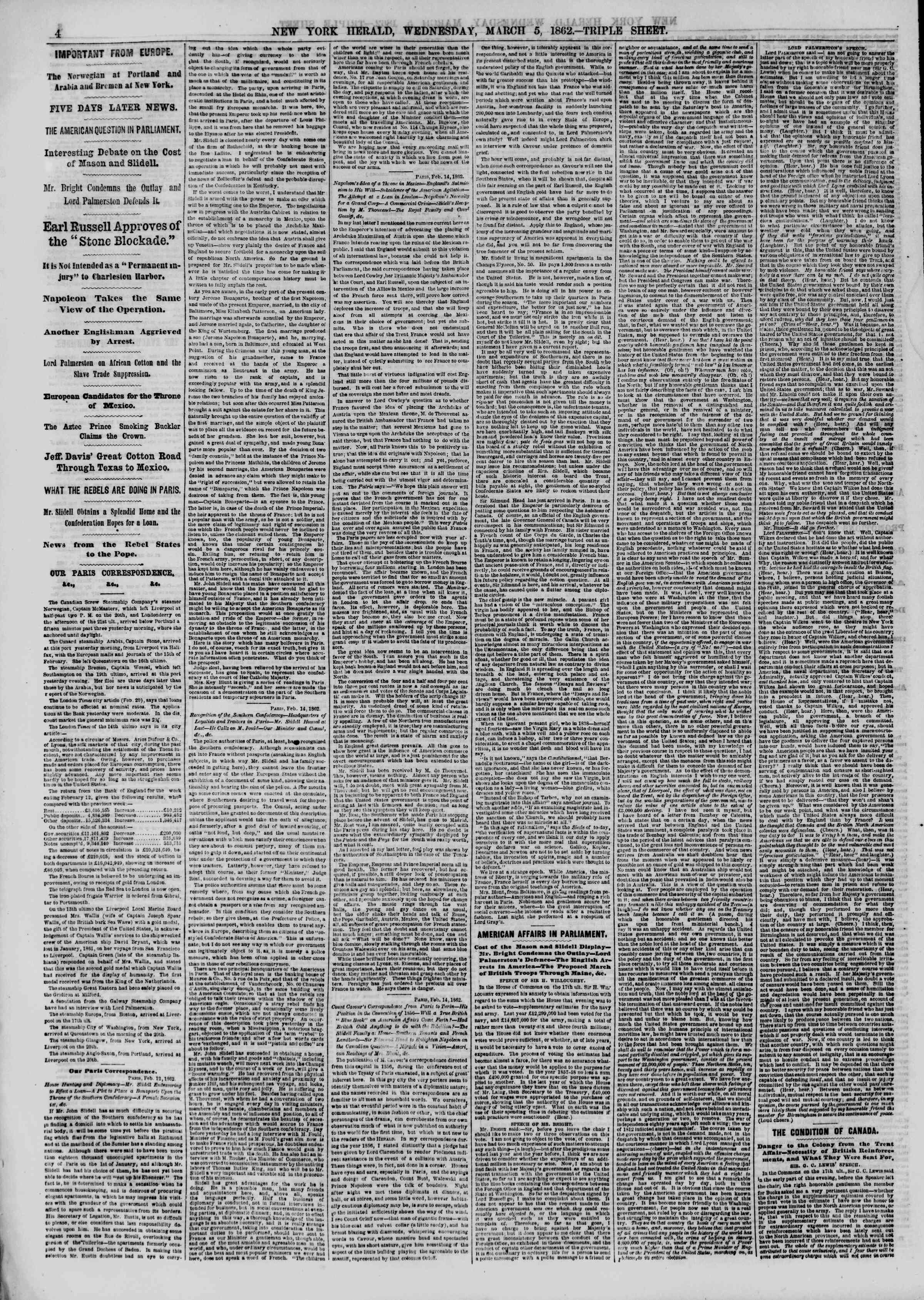 Newspaper of The New York Herald dated March 5, 1862 Page 4