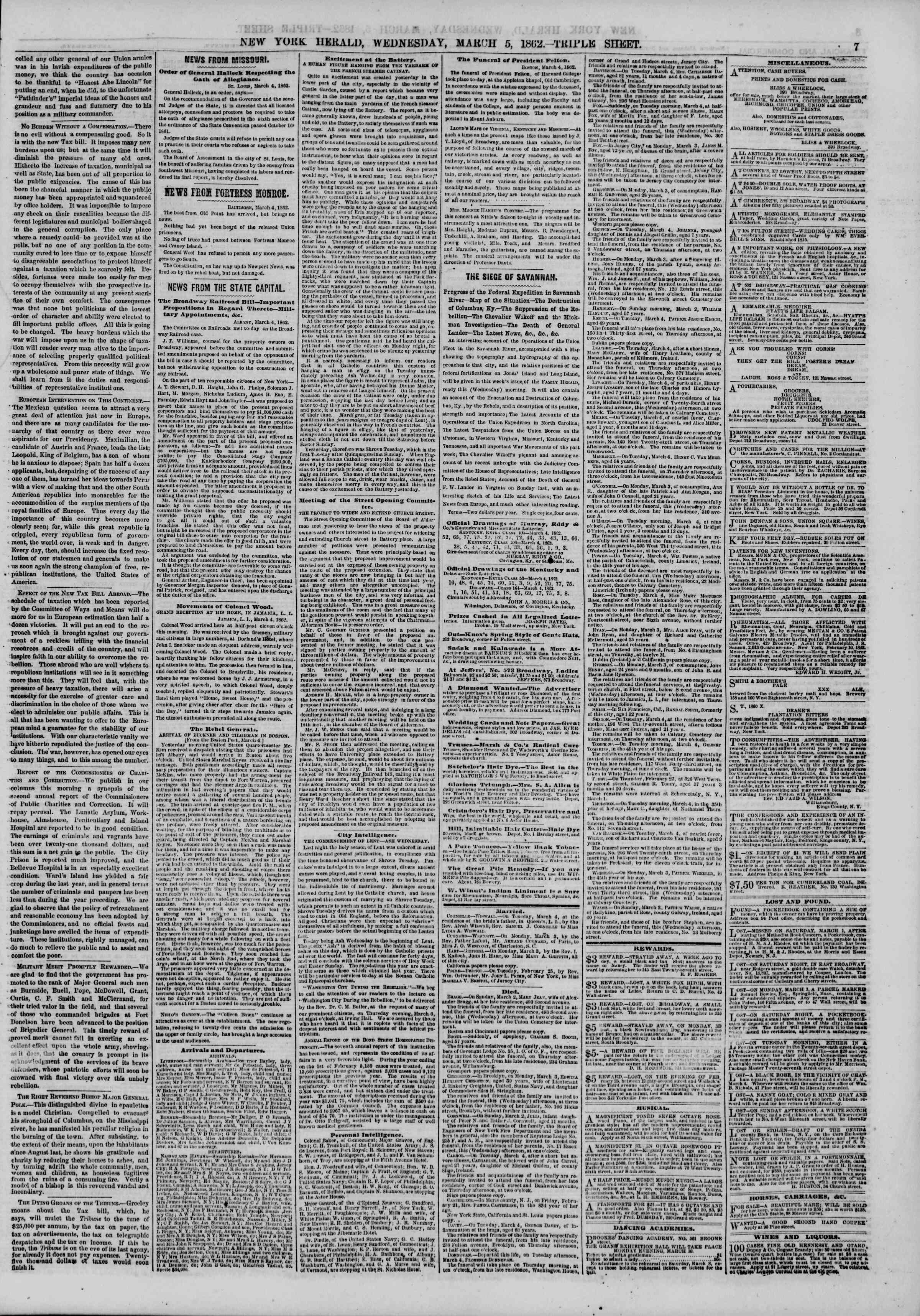 Newspaper of The New York Herald dated March 5, 1862 Page 7