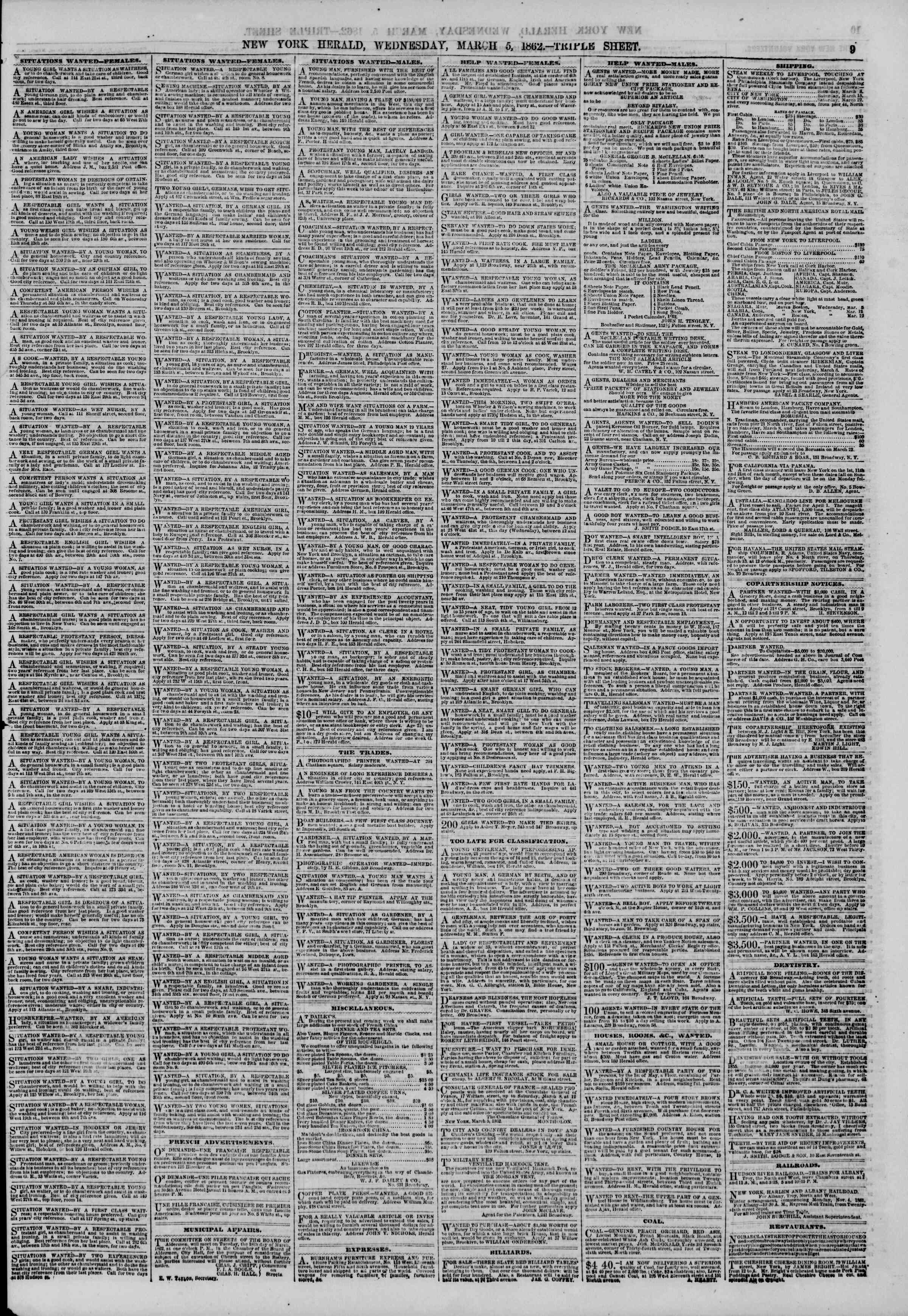 Newspaper of The New York Herald dated March 5, 1862 Page 9