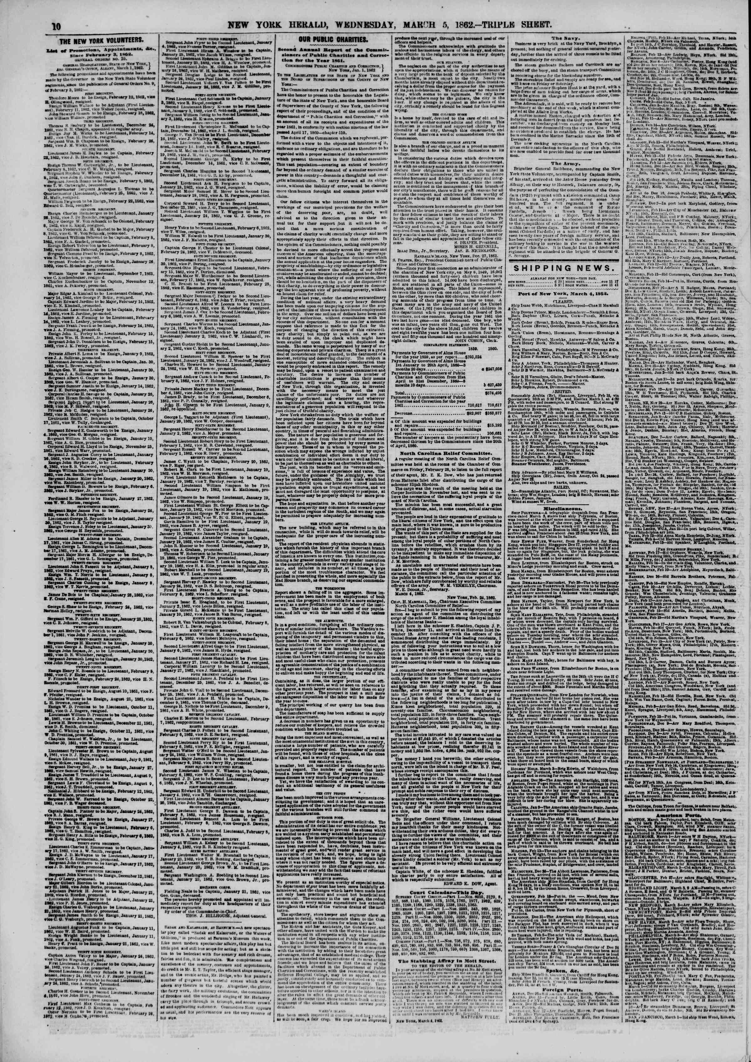 Newspaper of The New York Herald dated March 5, 1862 Page 10