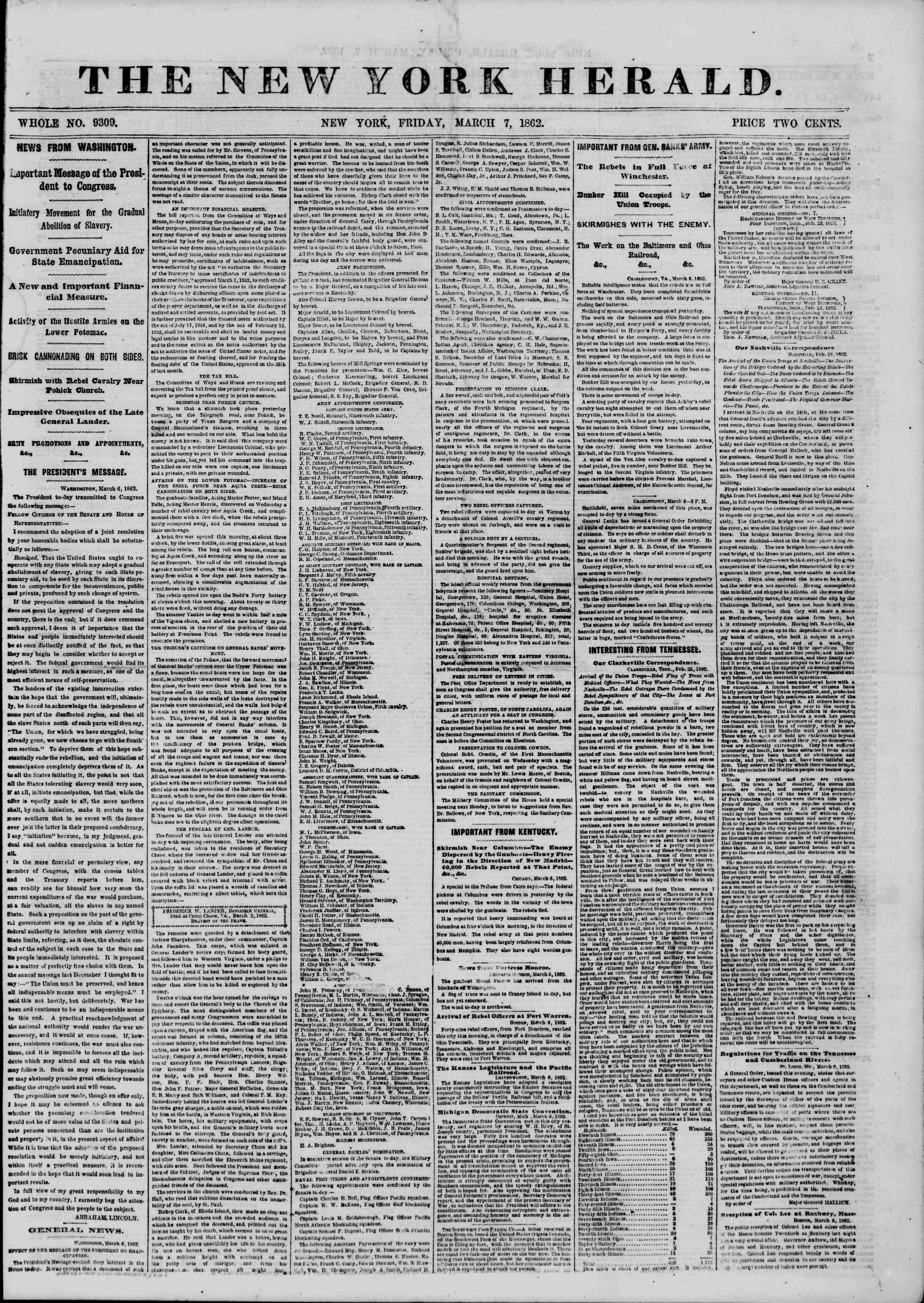 Newspaper of The New York Herald dated March 7, 1862 Page 1