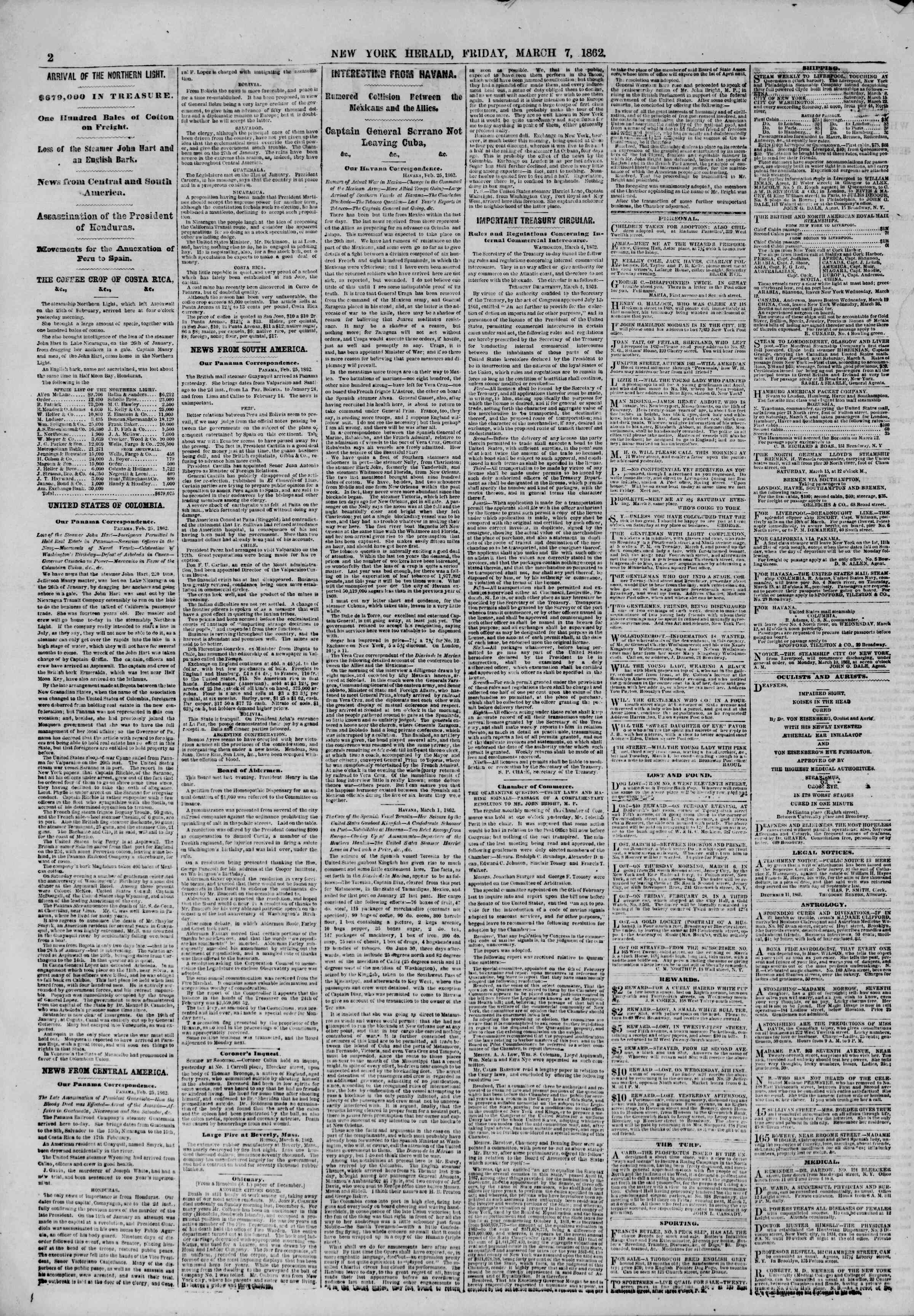 Newspaper of The New York Herald dated March 7, 1862 Page 2