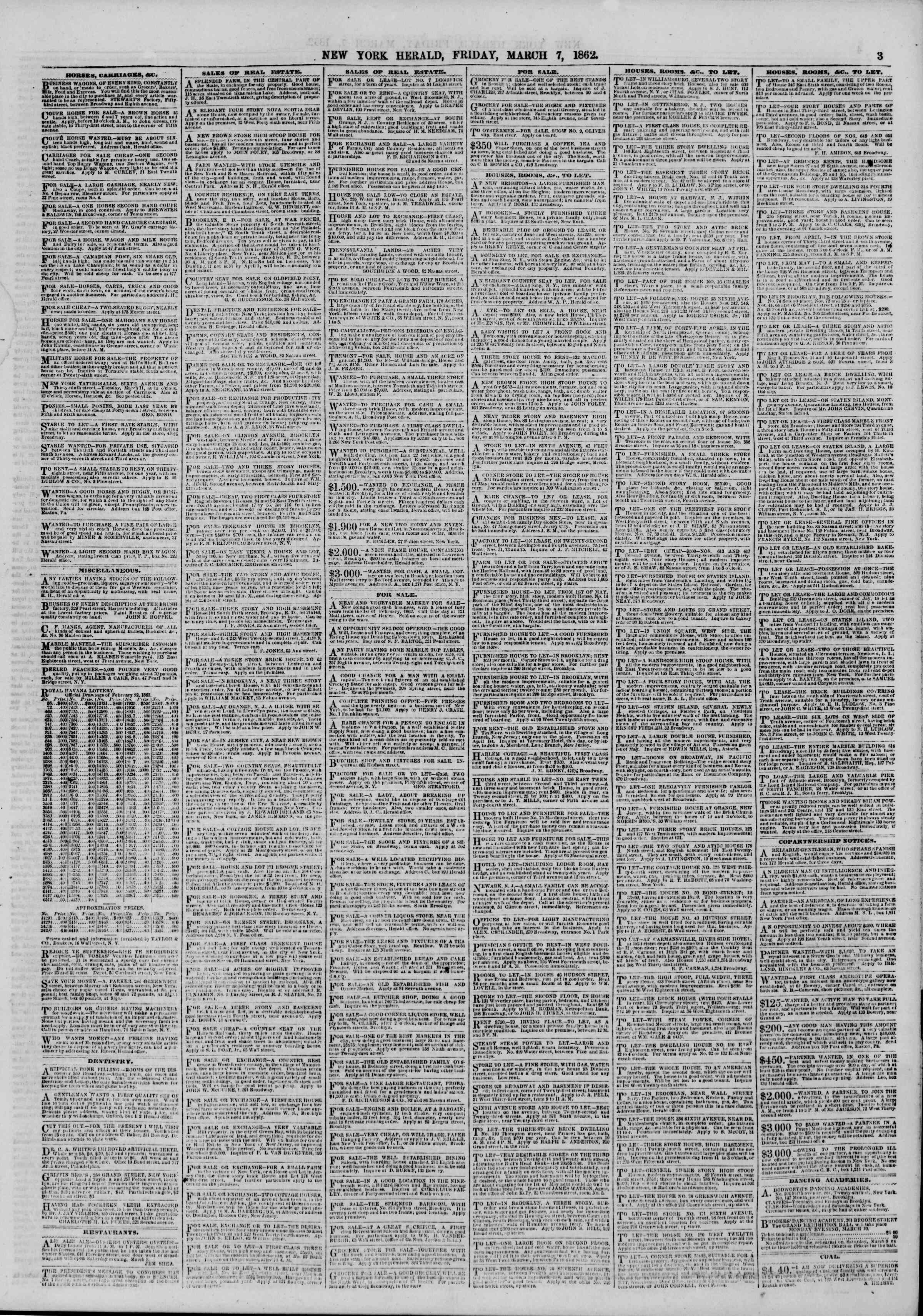 Newspaper of The New York Herald dated March 7, 1862 Page 3