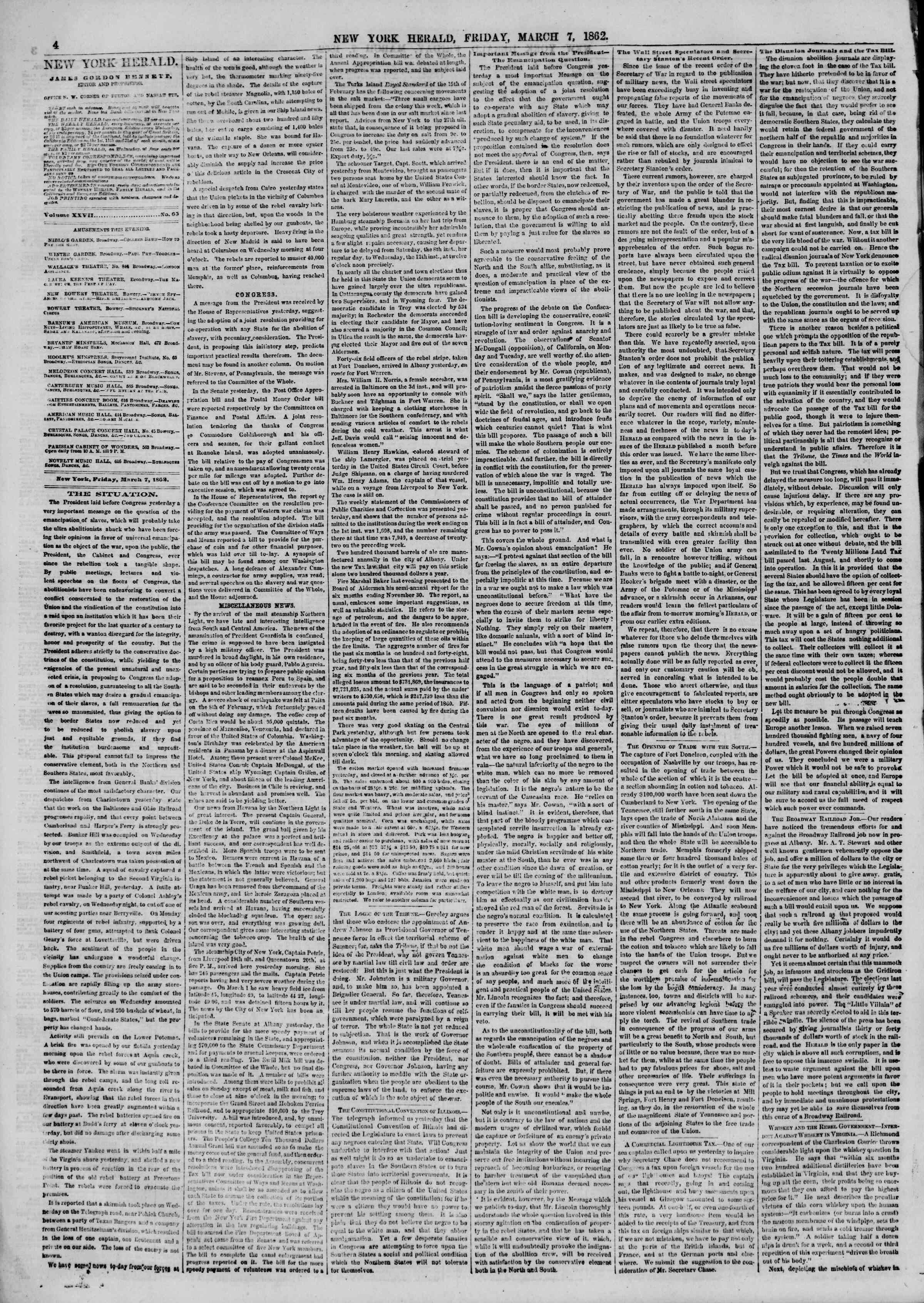 Newspaper of The New York Herald dated March 7, 1862 Page 4
