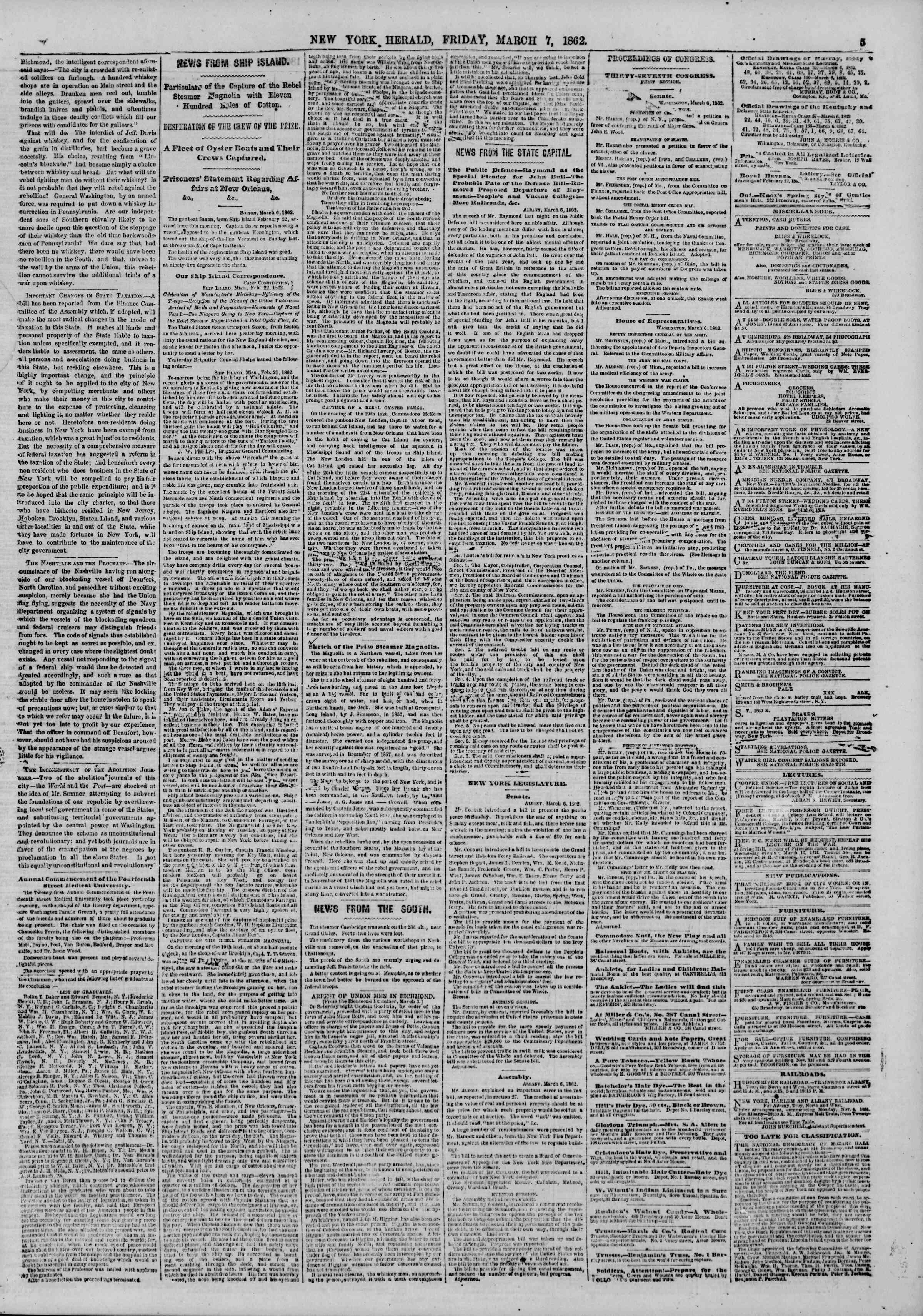 Newspaper of The New York Herald dated 7 Mart 1862 Page 5