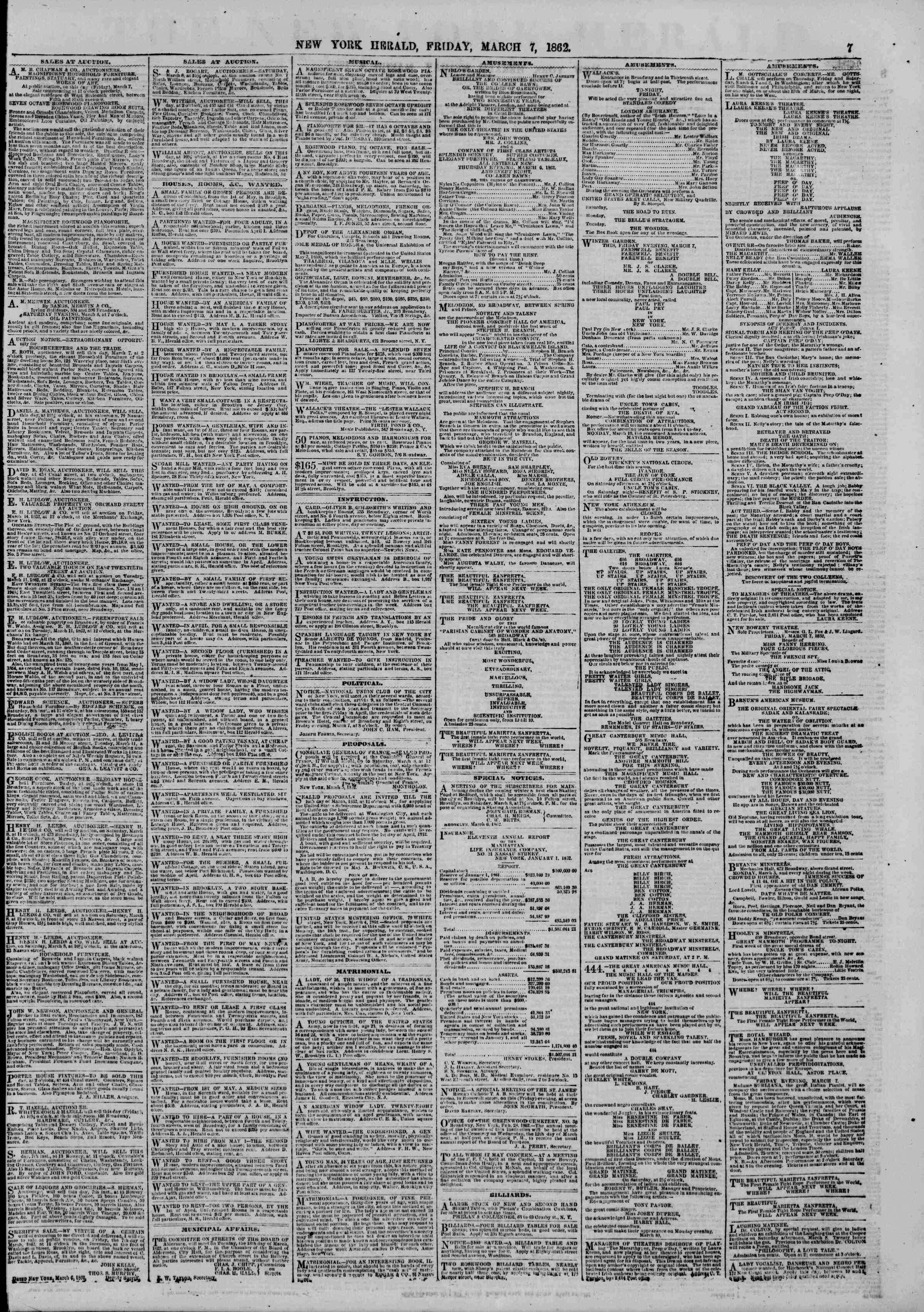 Newspaper of The New York Herald dated March 7, 1862 Page 7