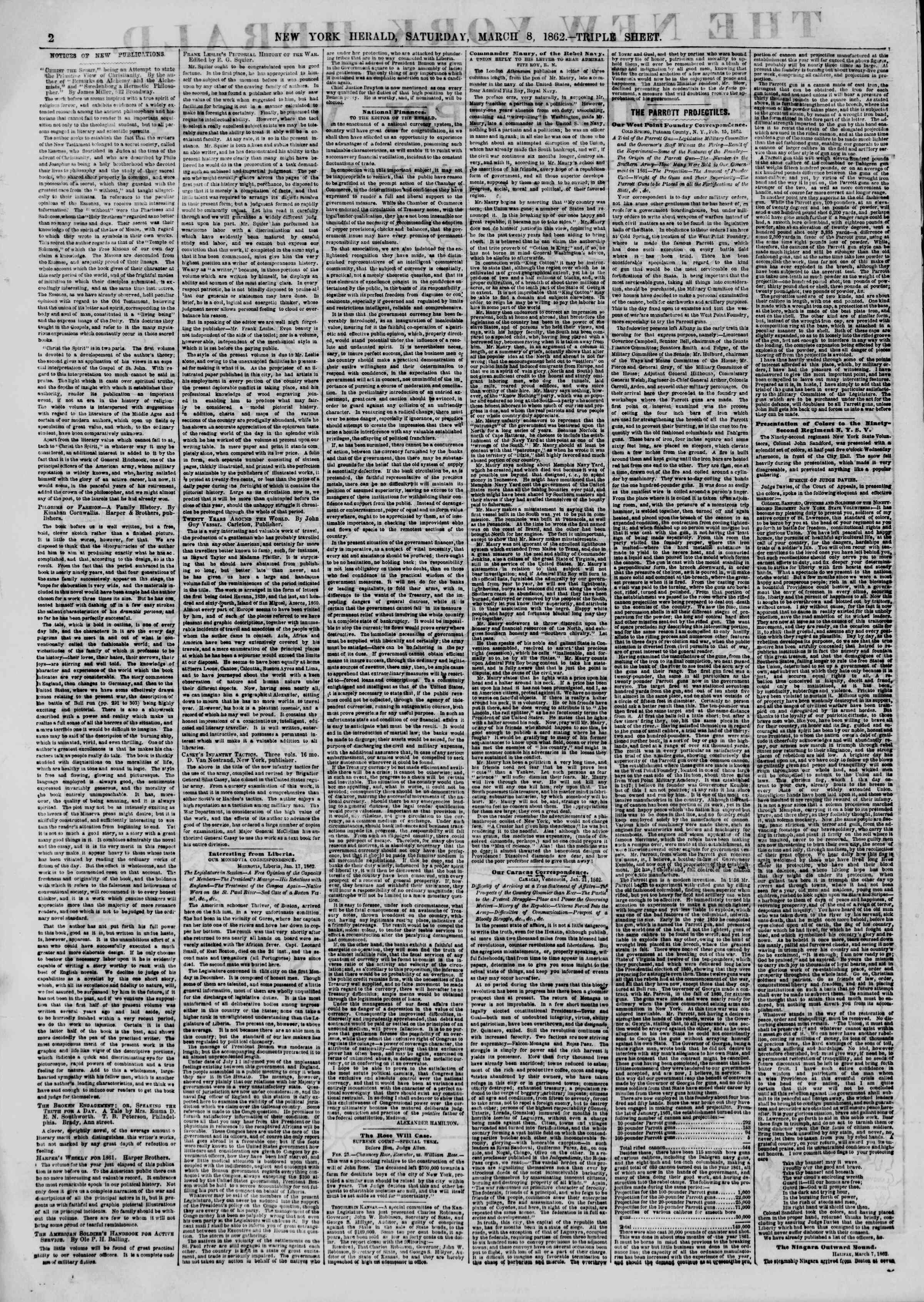 Newspaper of The New York Herald dated March 8, 1862 Page 2