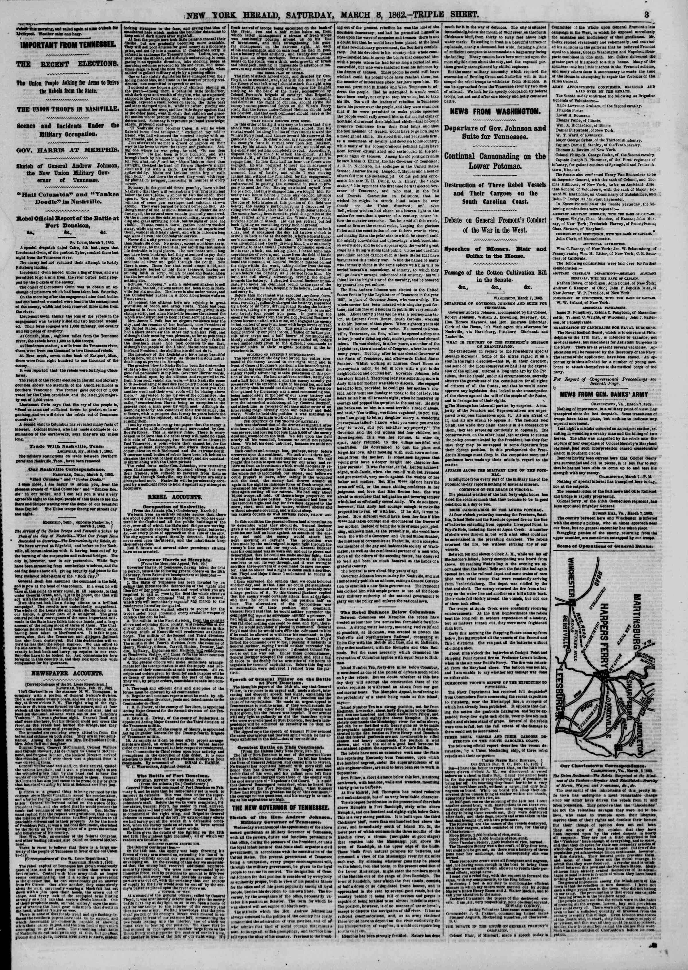 Newspaper of The New York Herald dated March 8, 1862 Page 3