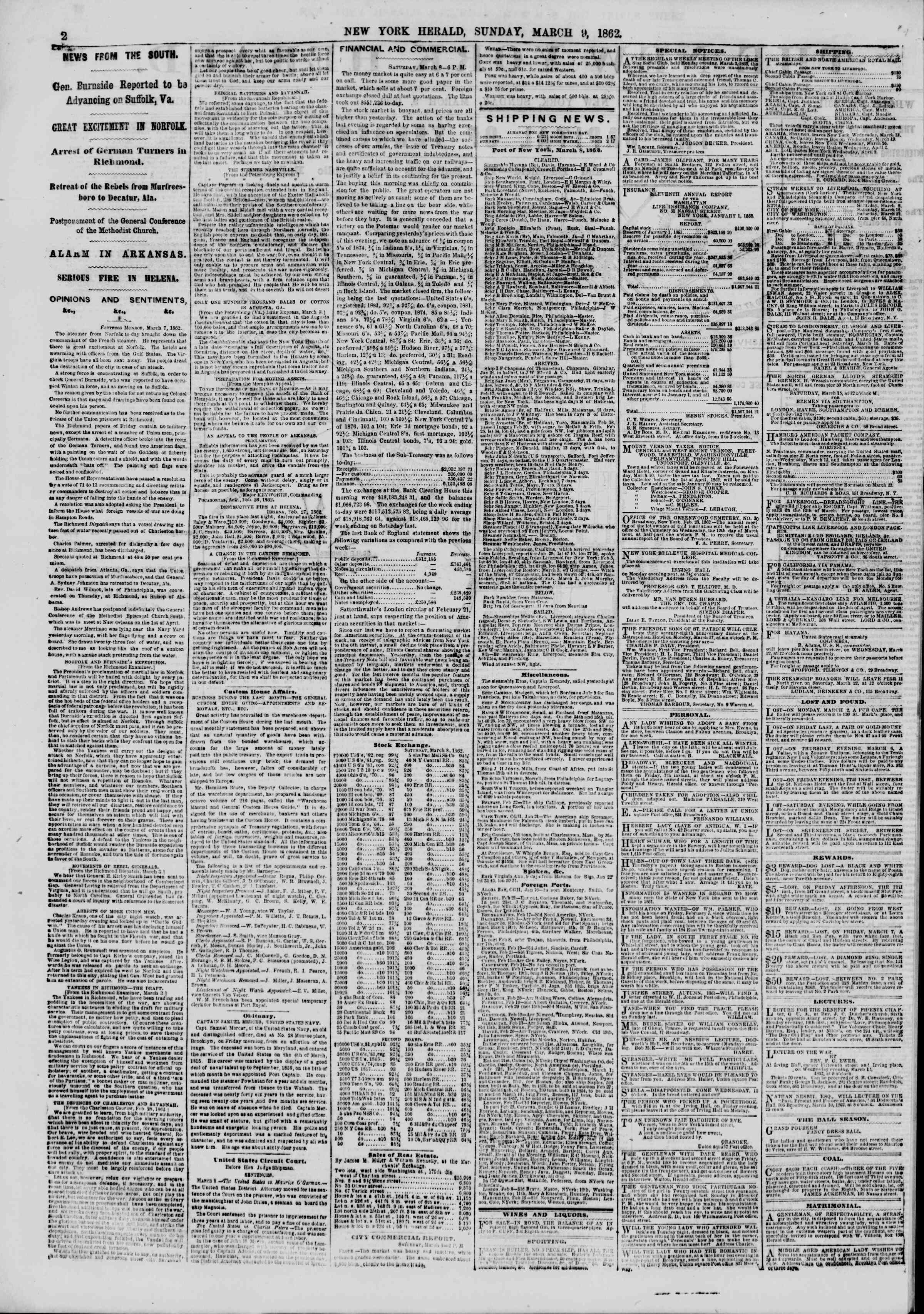 Newspaper of The New York Herald dated March 9, 1862 Page 2