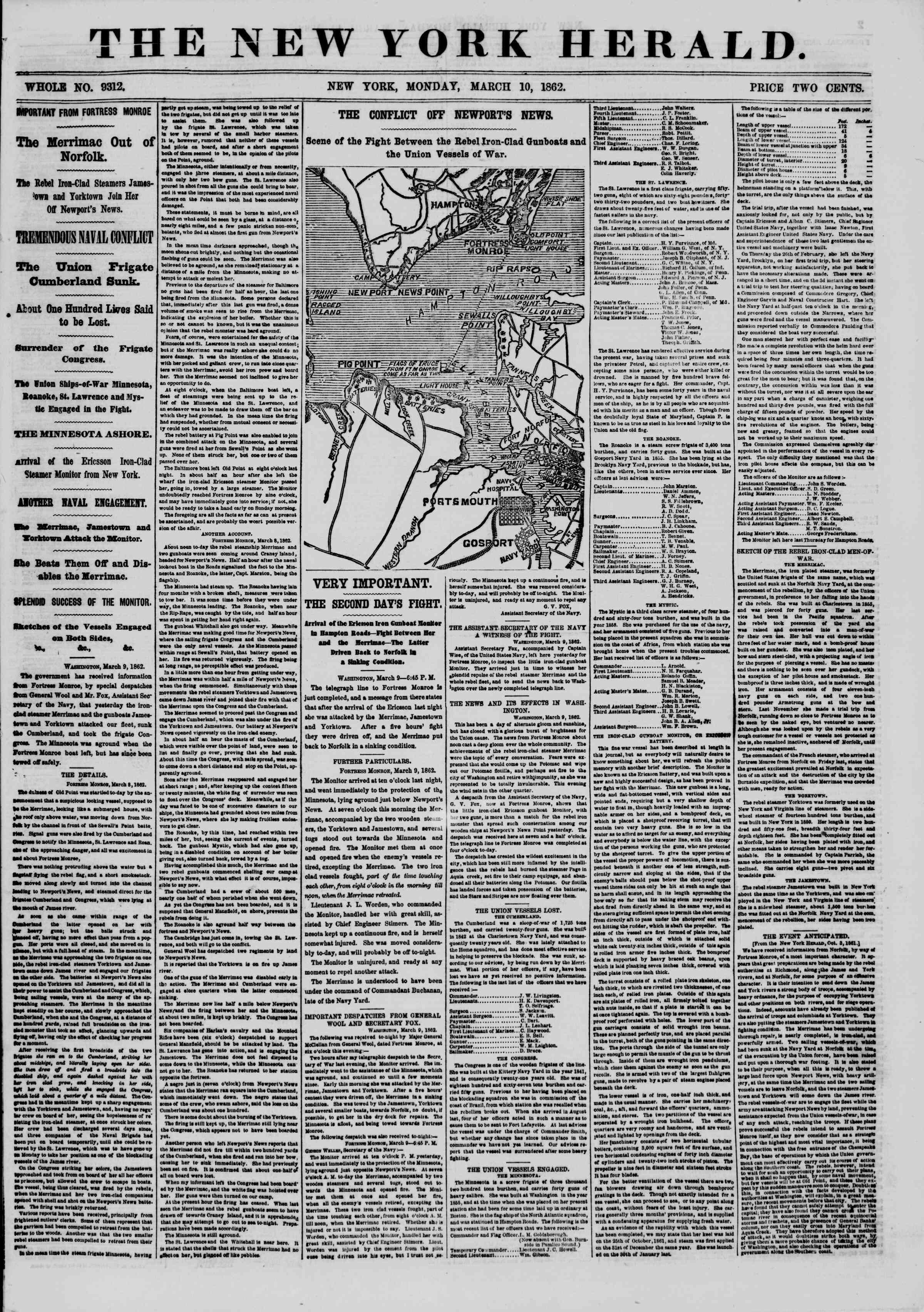 Newspaper of The New York Herald dated 10 Mart 1862 Page 1
