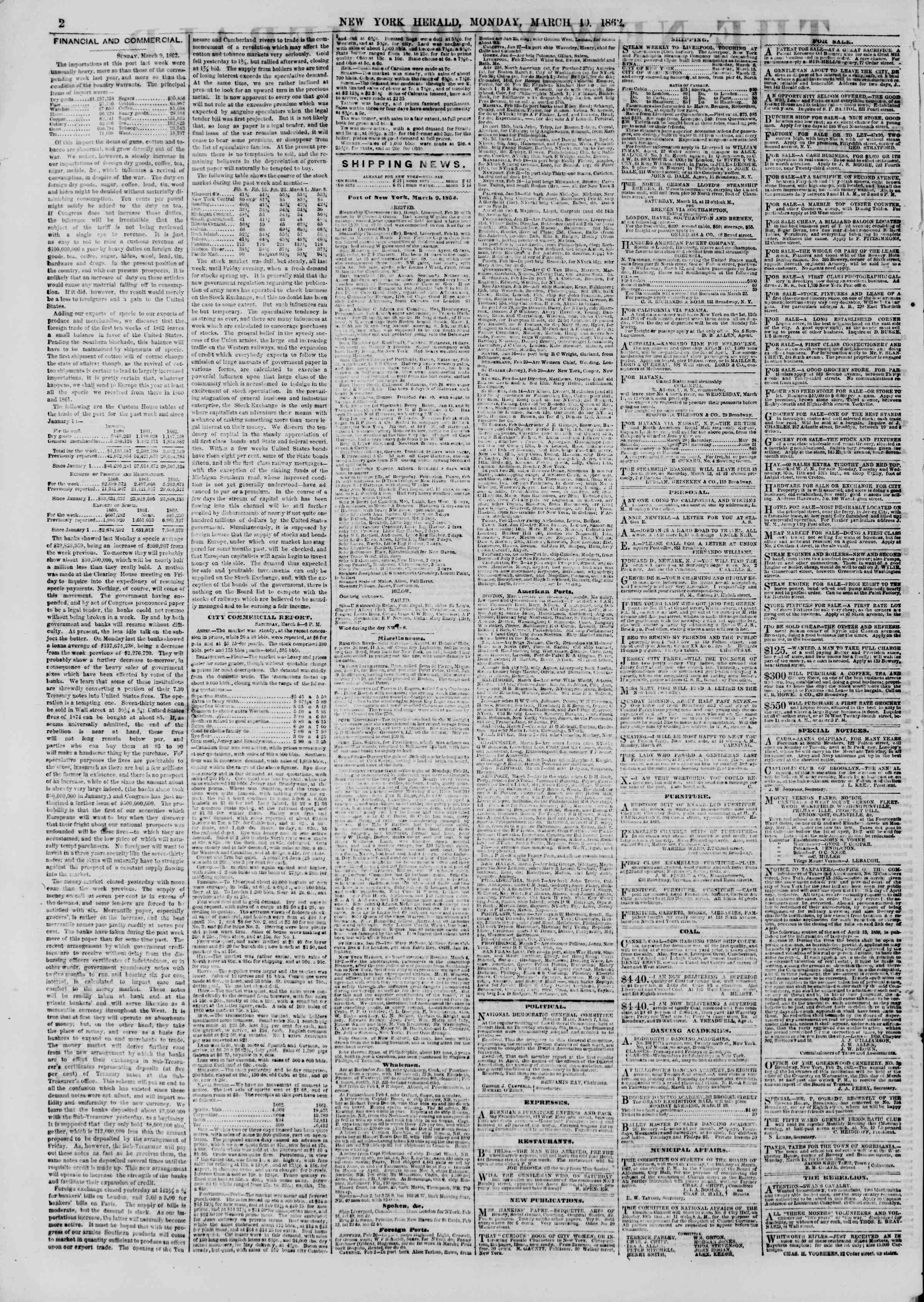 Newspaper of The New York Herald dated March 10, 1862 Page 2