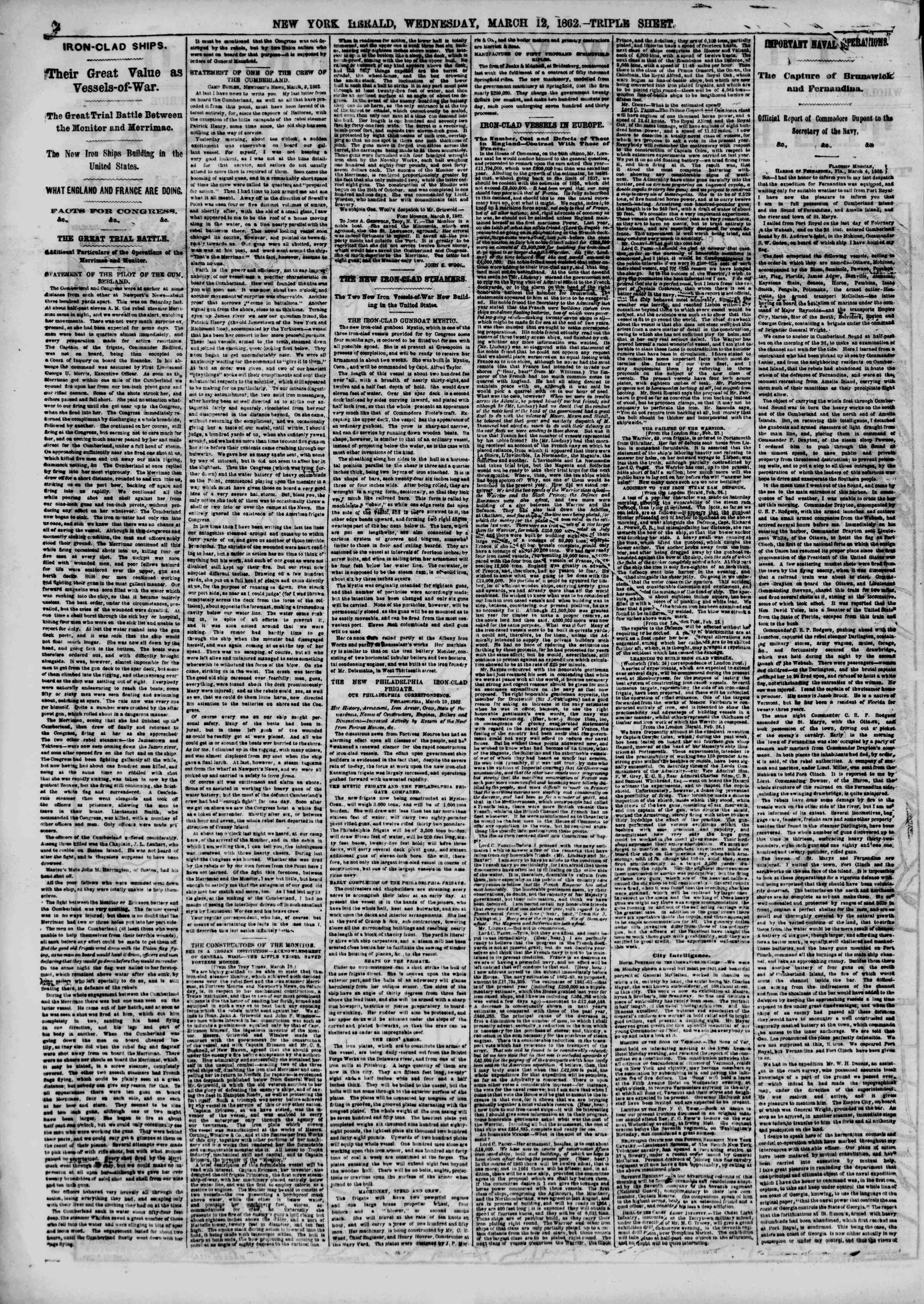 Newspaper of The New York Herald dated March 12, 1862 Page 2