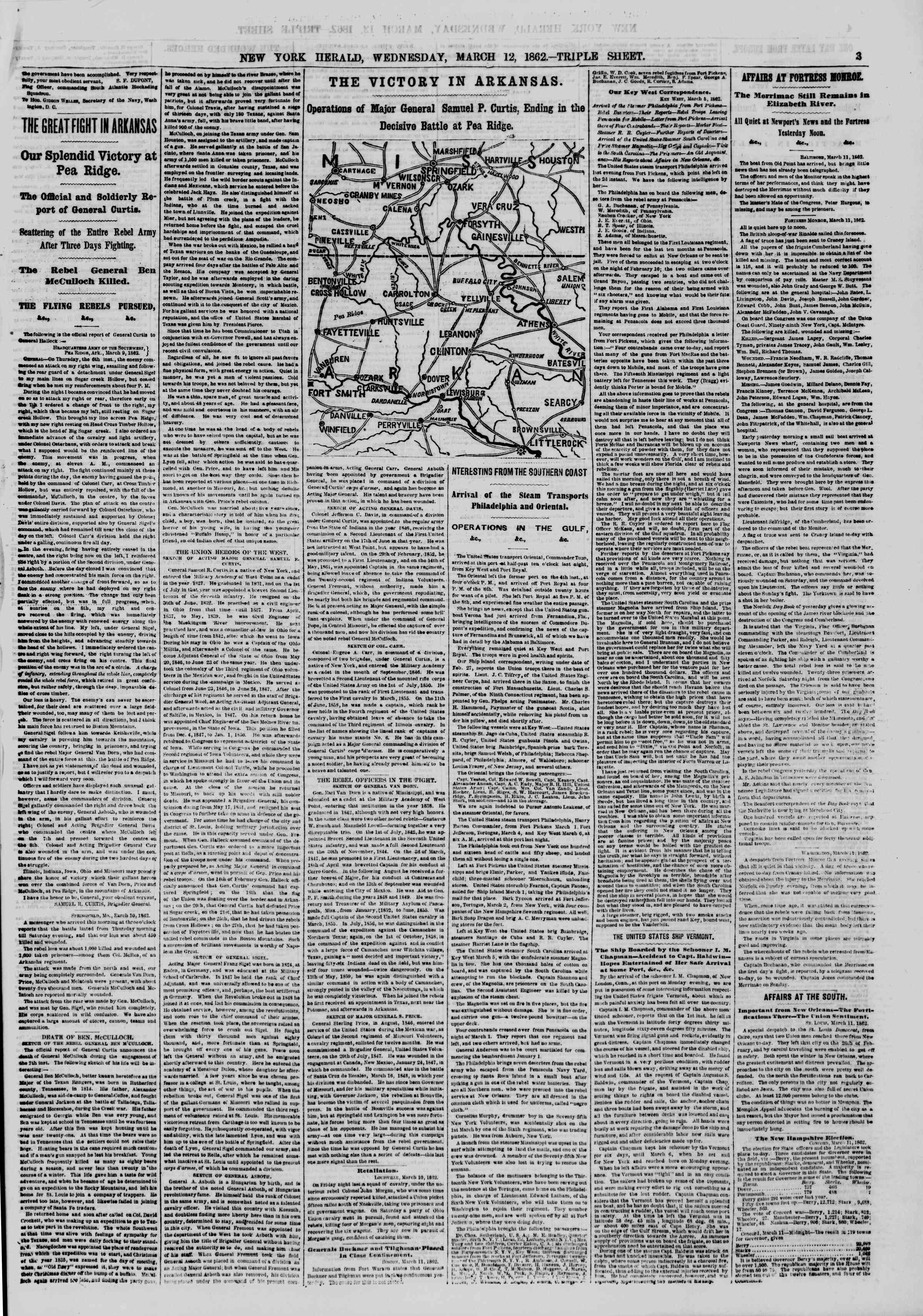 Newspaper of The New York Herald dated March 12, 1862 Page 3