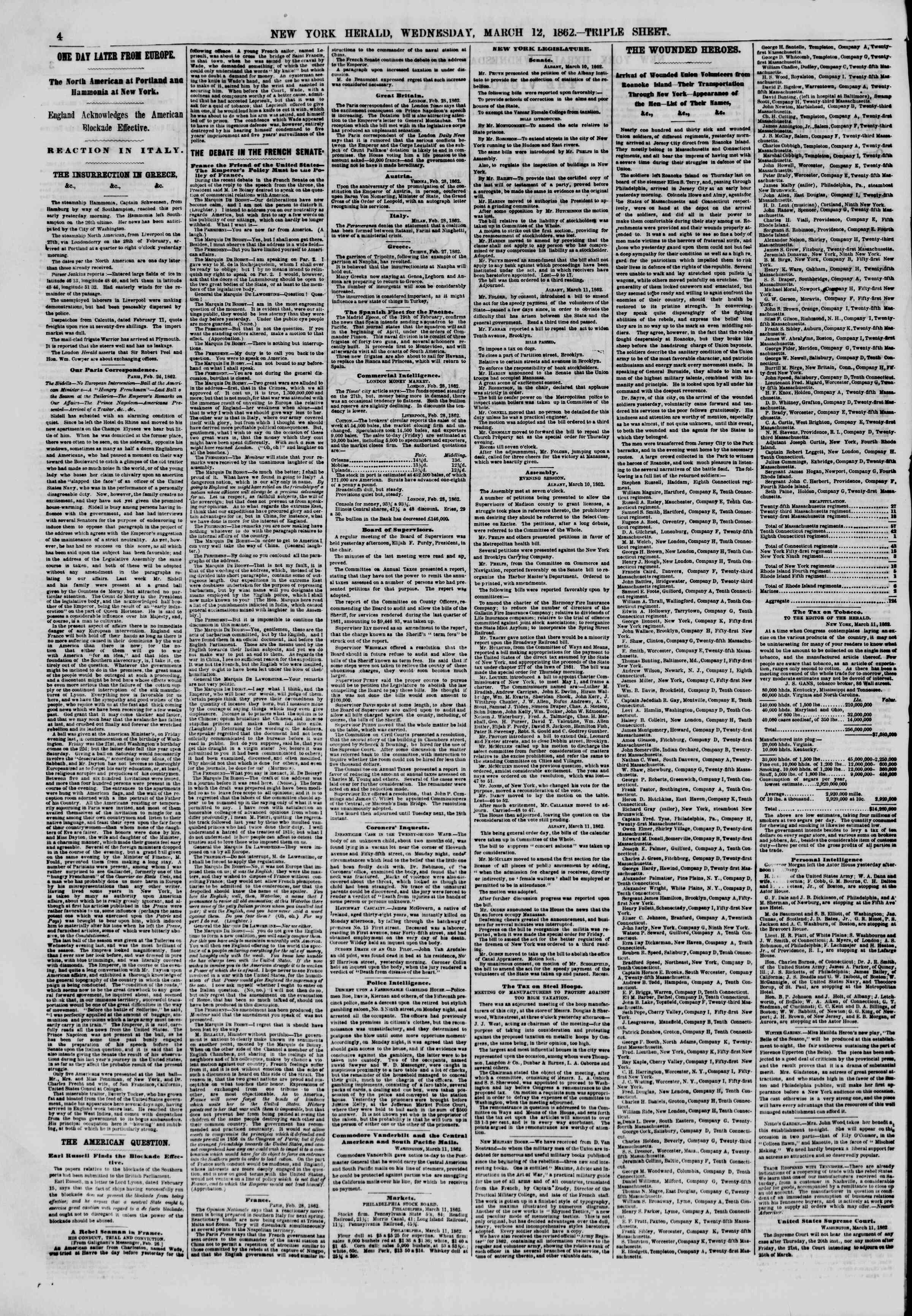 Newspaper of The New York Herald dated March 12, 1862 Page 4