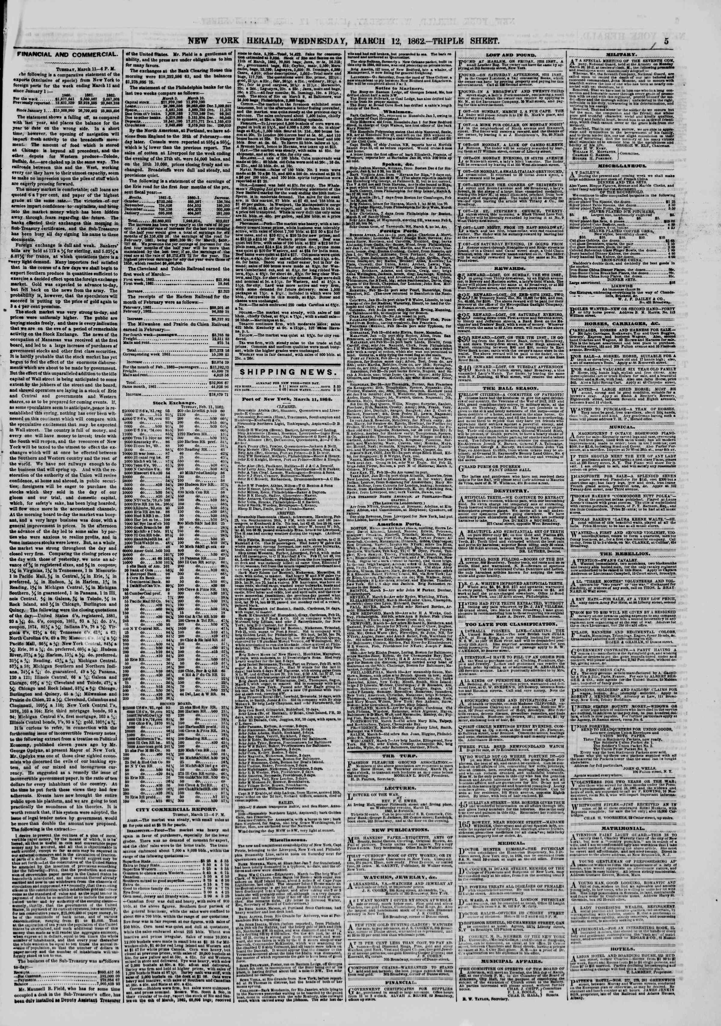 Newspaper of The New York Herald dated March 12, 1862 Page 5