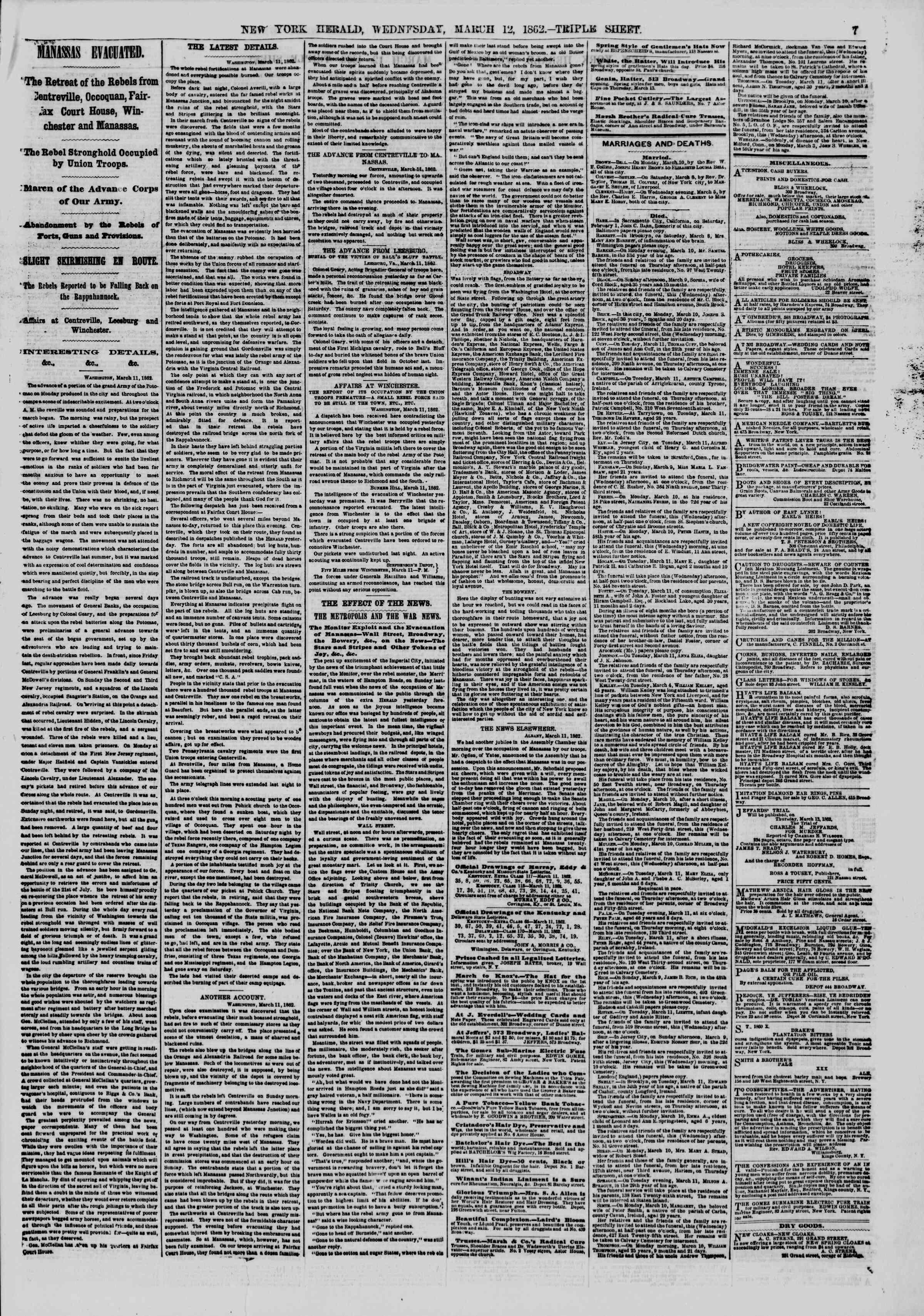 Newspaper of The New York Herald dated March 12, 1862 Page 7
