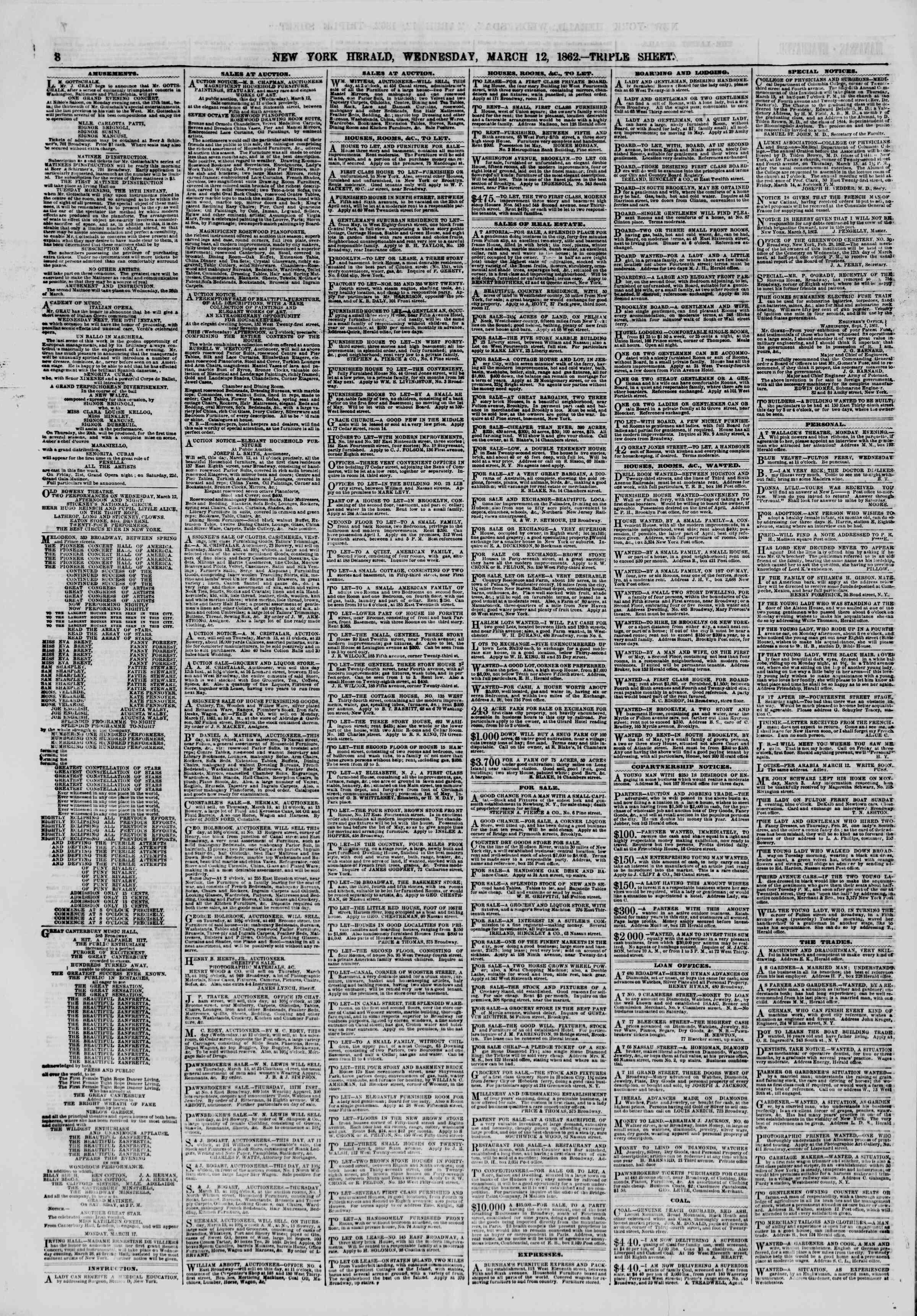 12 Mart 1862 tarihli The New York Herald Gazetesi Sayfa 8