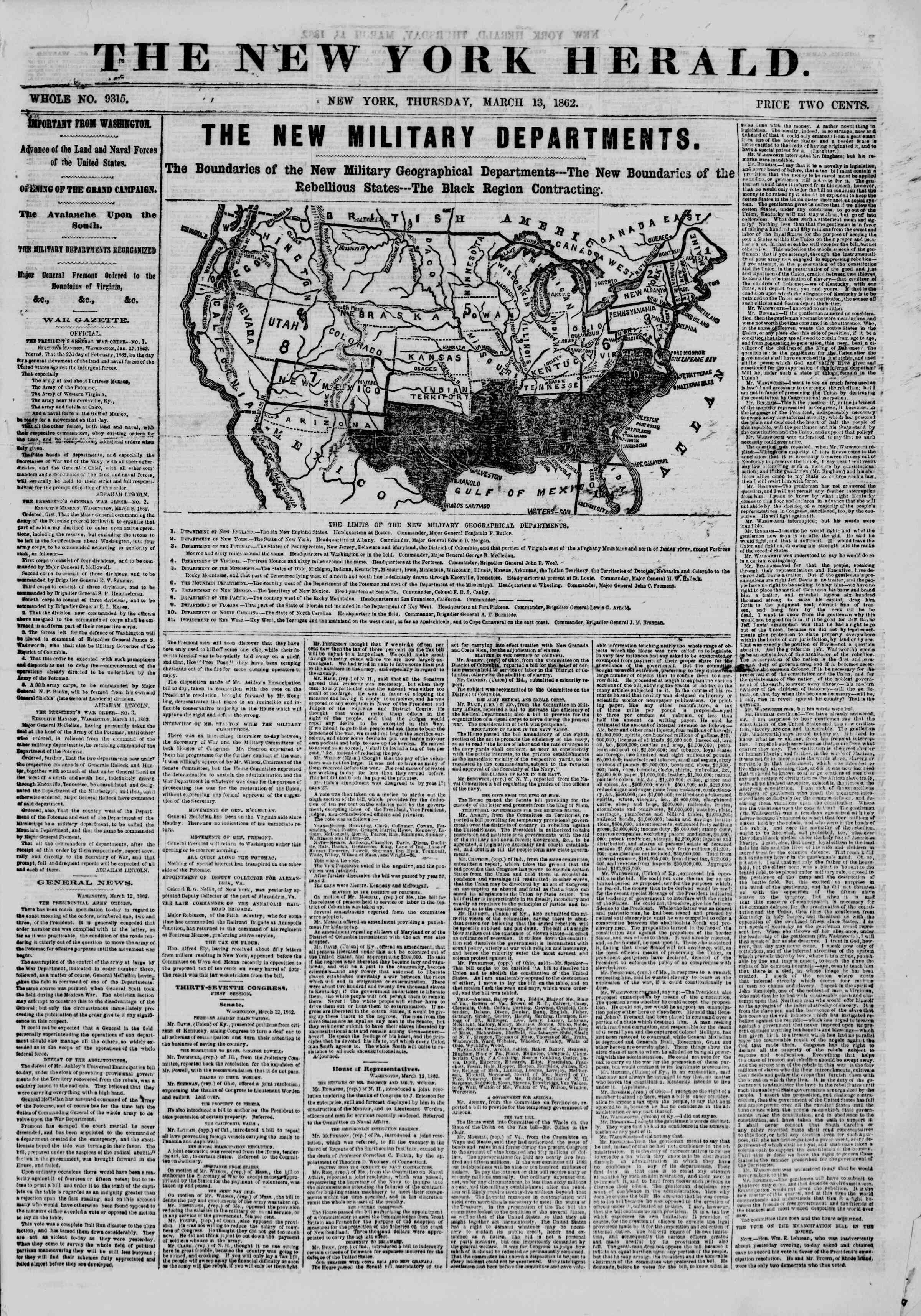 Newspaper of The New York Herald dated March 13, 1862 Page 1