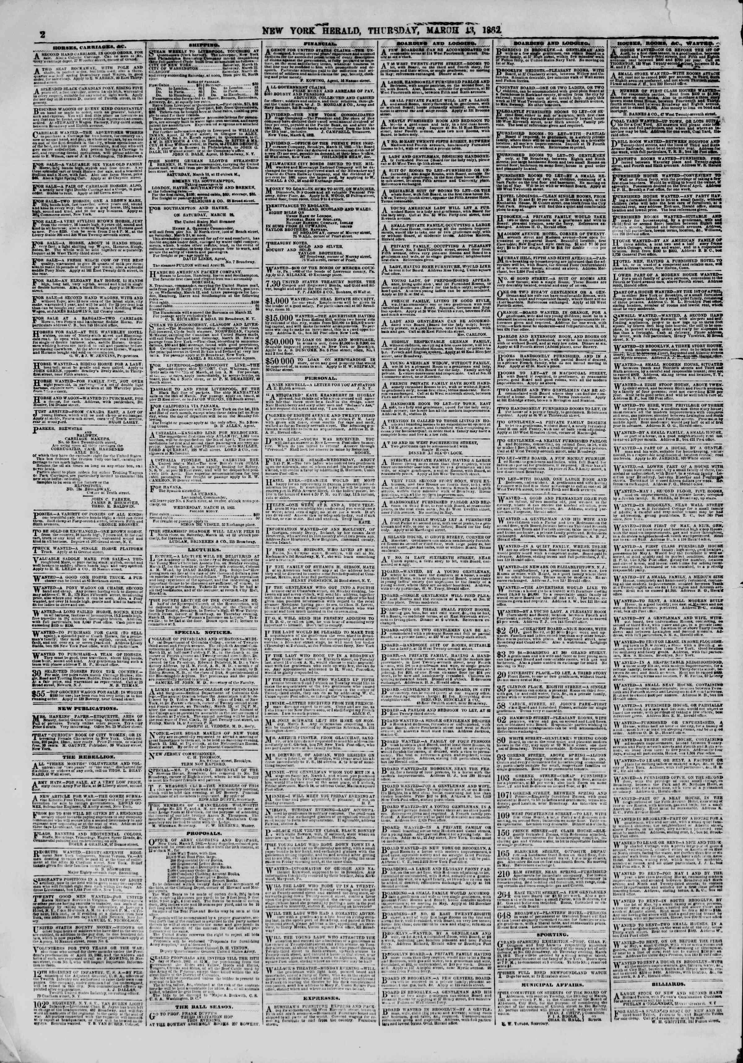 Newspaper of The New York Herald dated March 13, 1862 Page 2