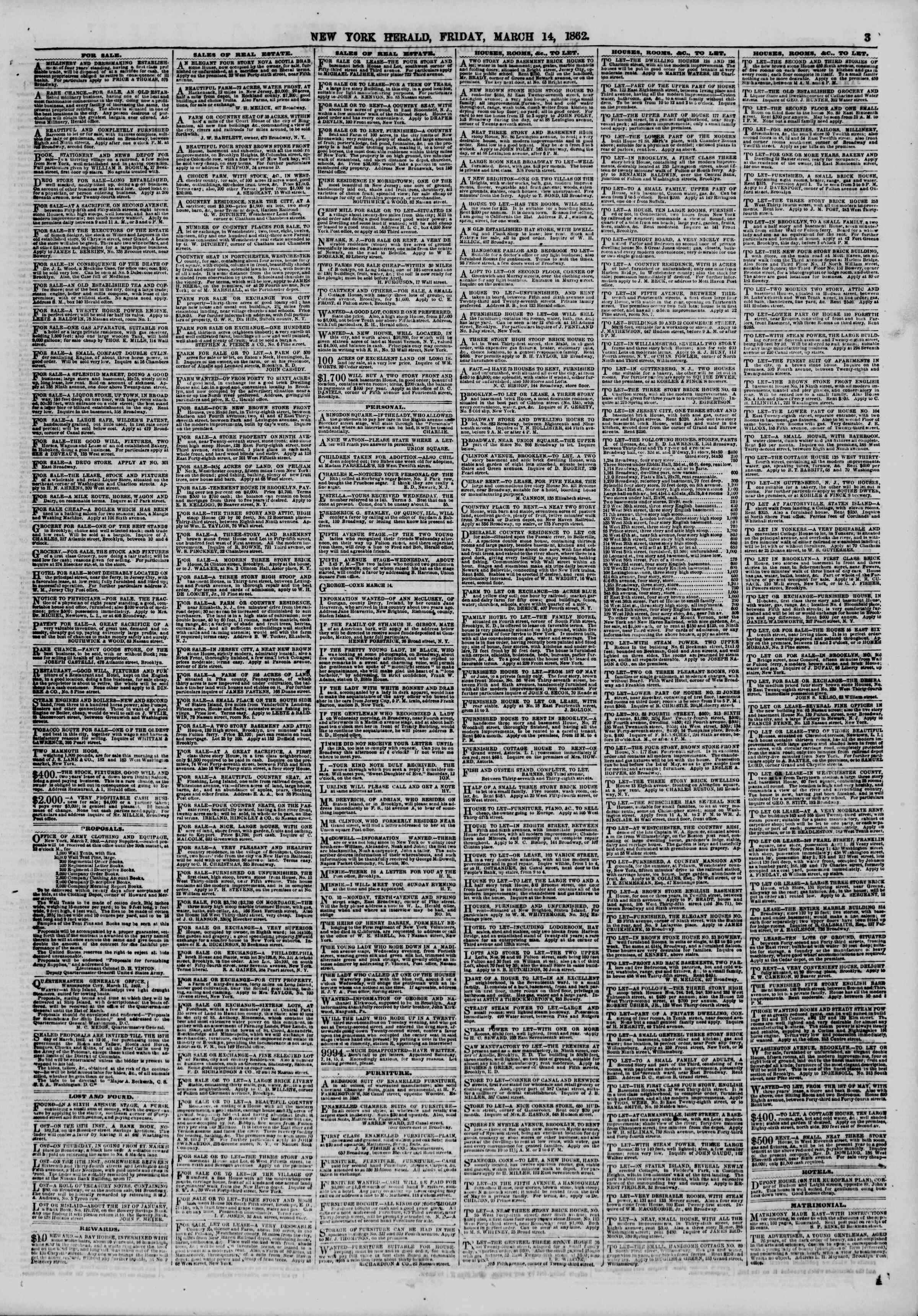 Newspaper of The New York Herald dated March 14, 1862 Page 3
