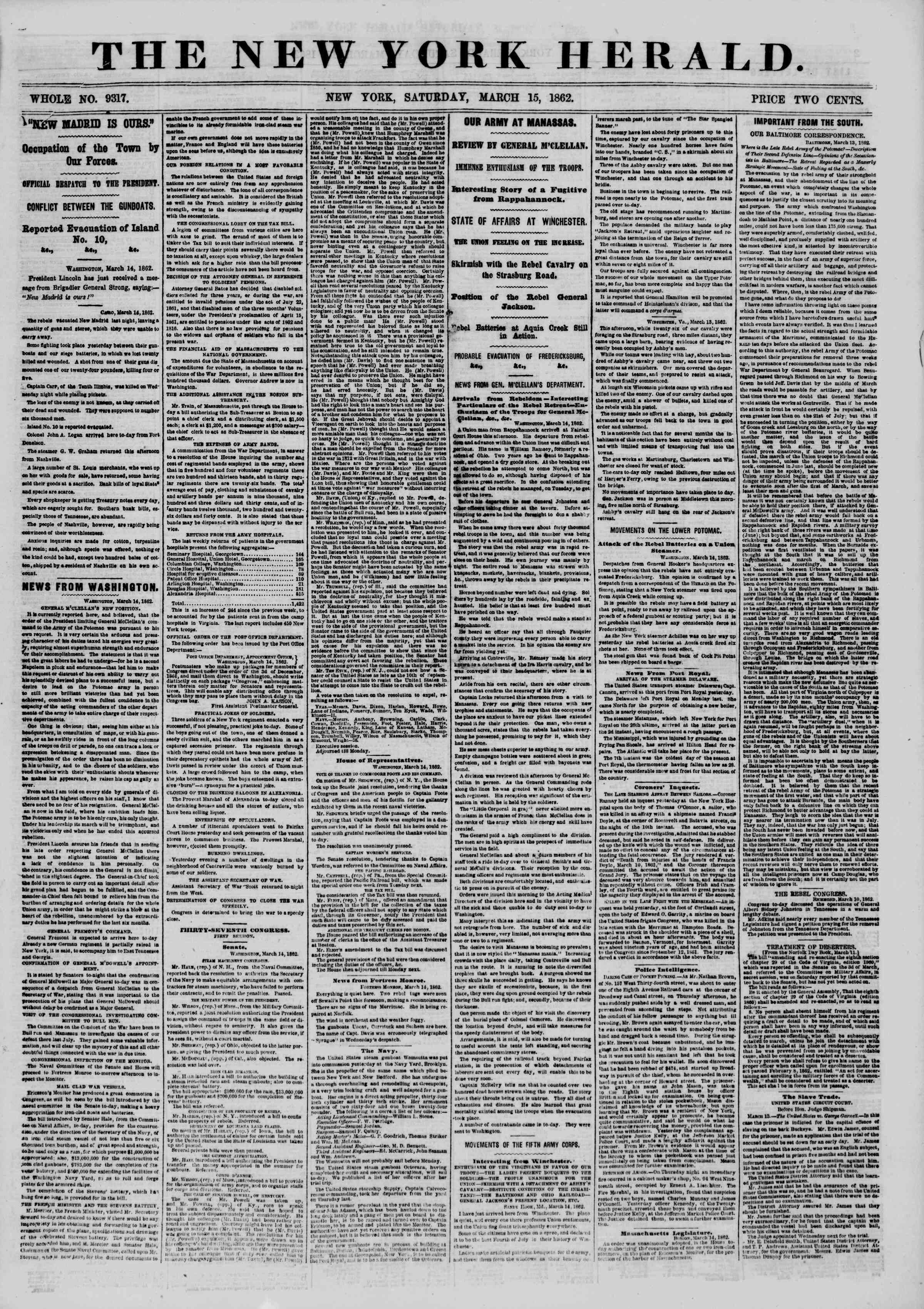 Newspaper of The New York Herald dated March 15, 1862 Page 1