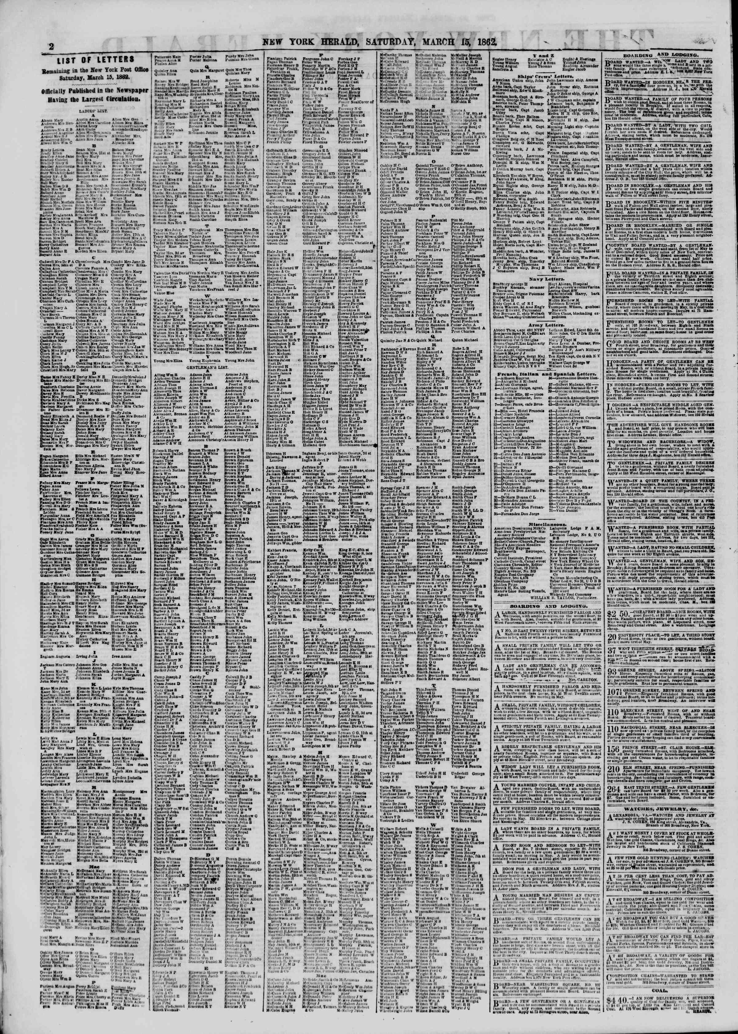 Newspaper of The New York Herald dated March 15, 1862 Page 2