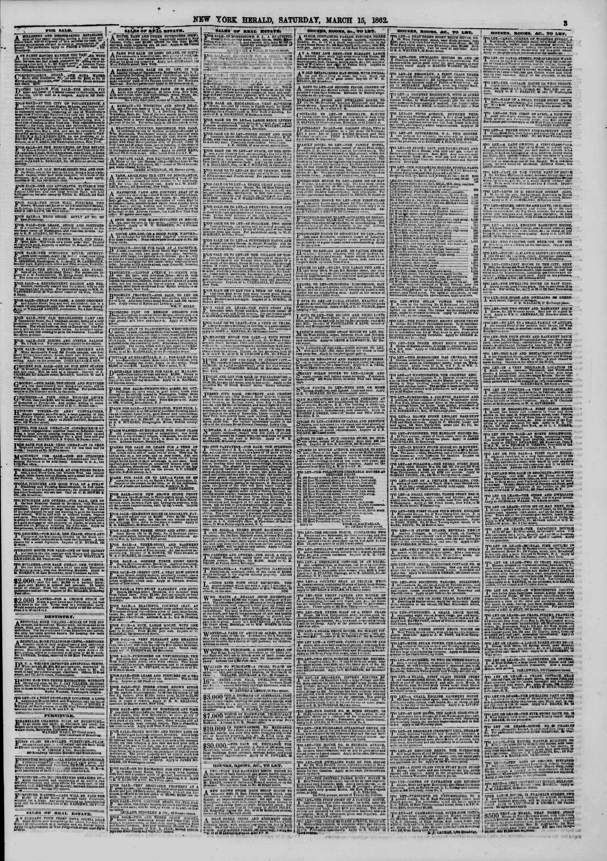 Newspaper of The New York Herald dated March 15, 1862 Page 3