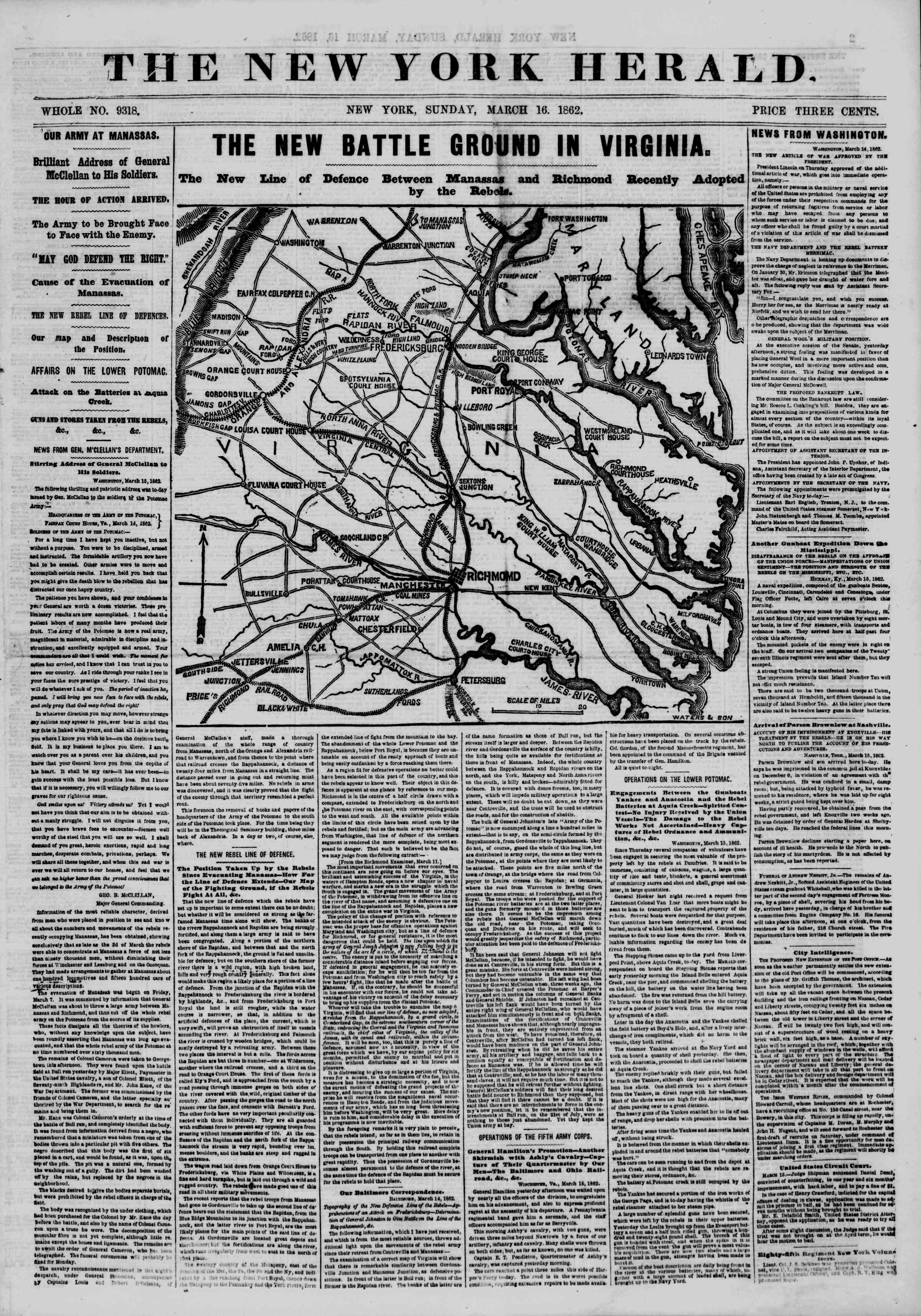 Newspaper of The New York Herald dated March 16, 1862 Page 1