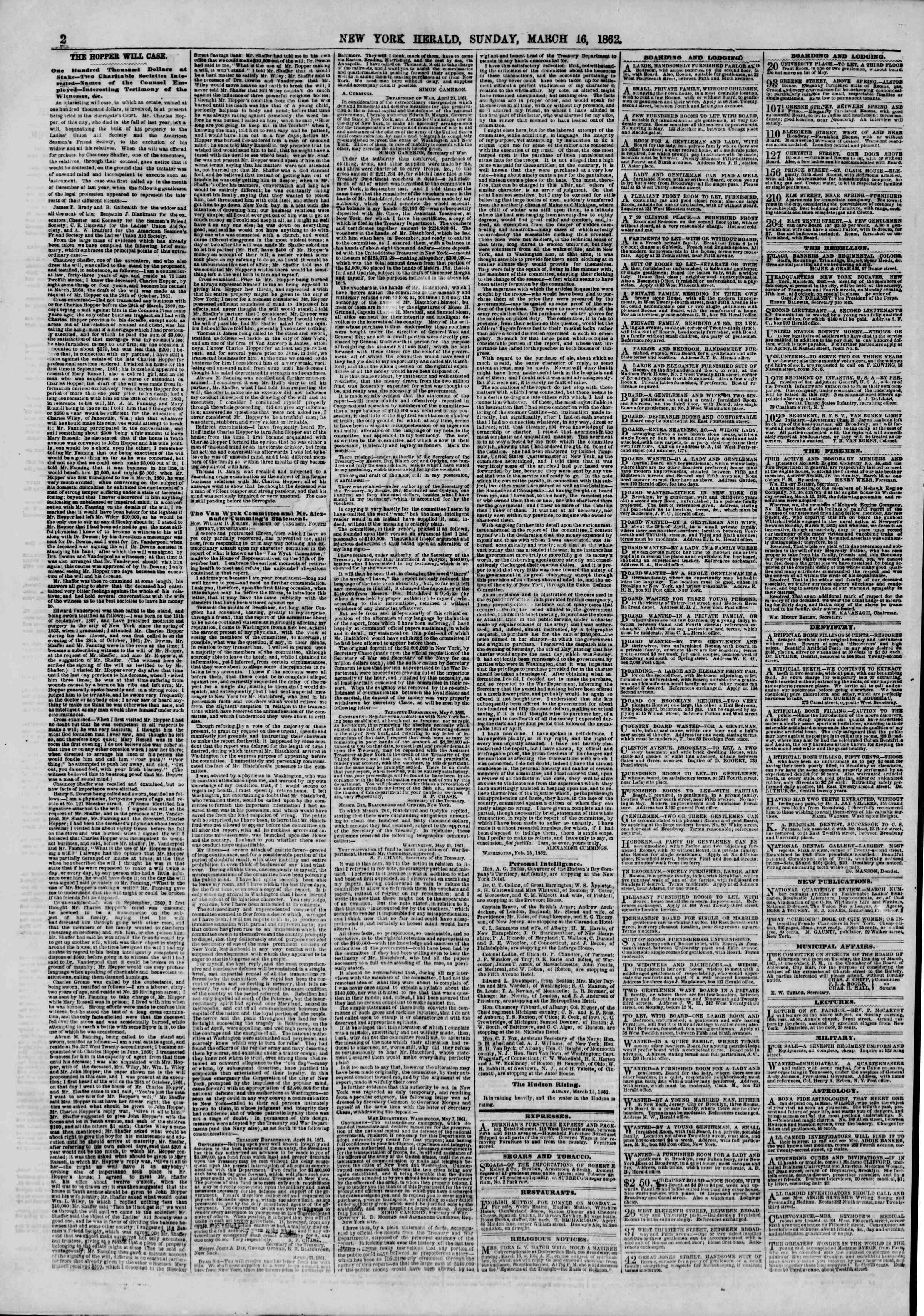 Newspaper of The New York Herald dated March 16, 1862 Page 2